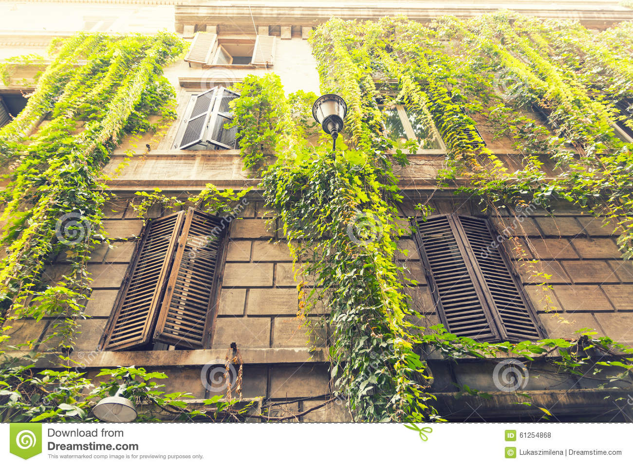 Beautiful Building In Old Part Of Rome Italy Stock Photo