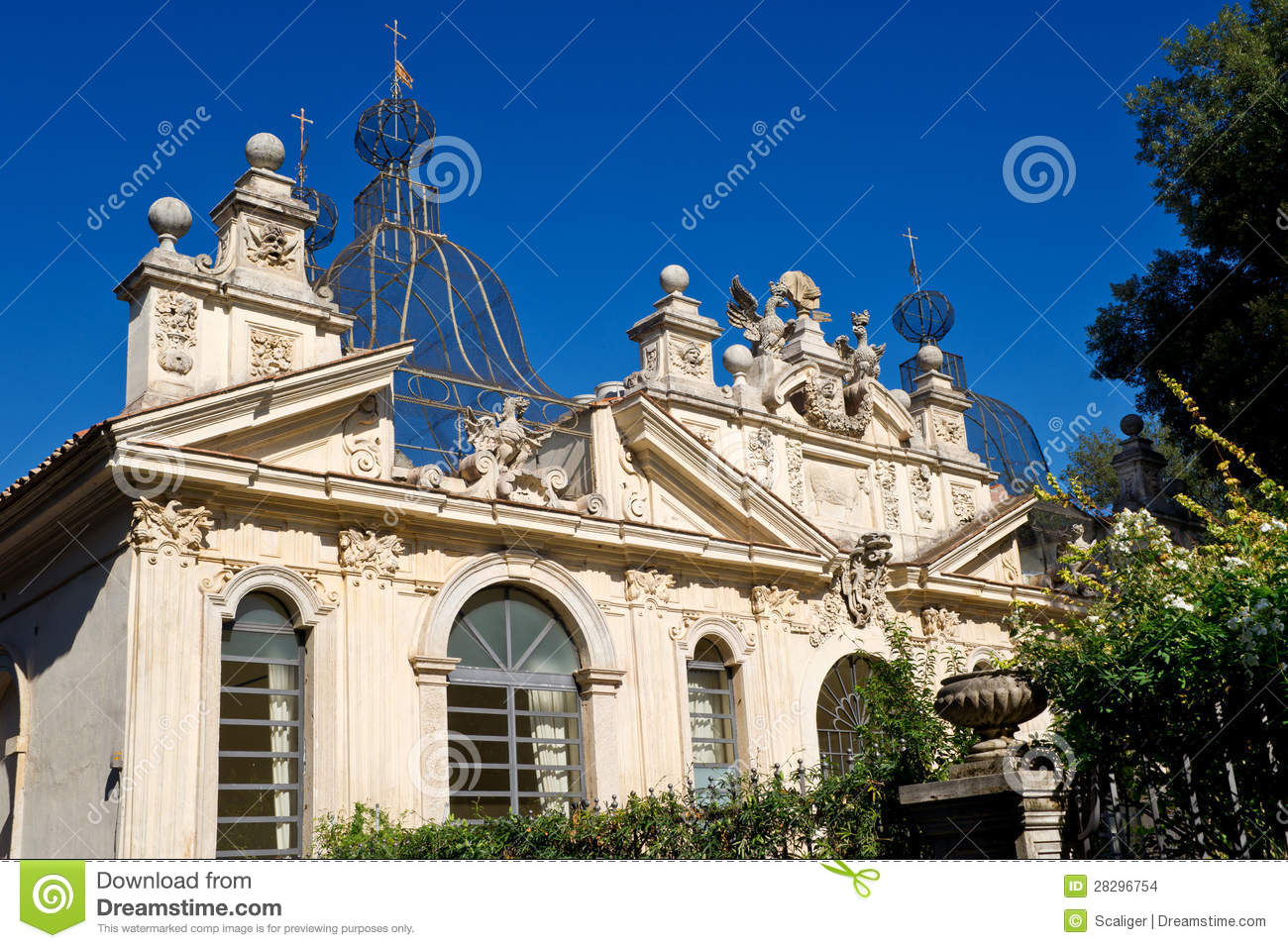 Beautiful Building At The Villa Borghese In Rome Stock