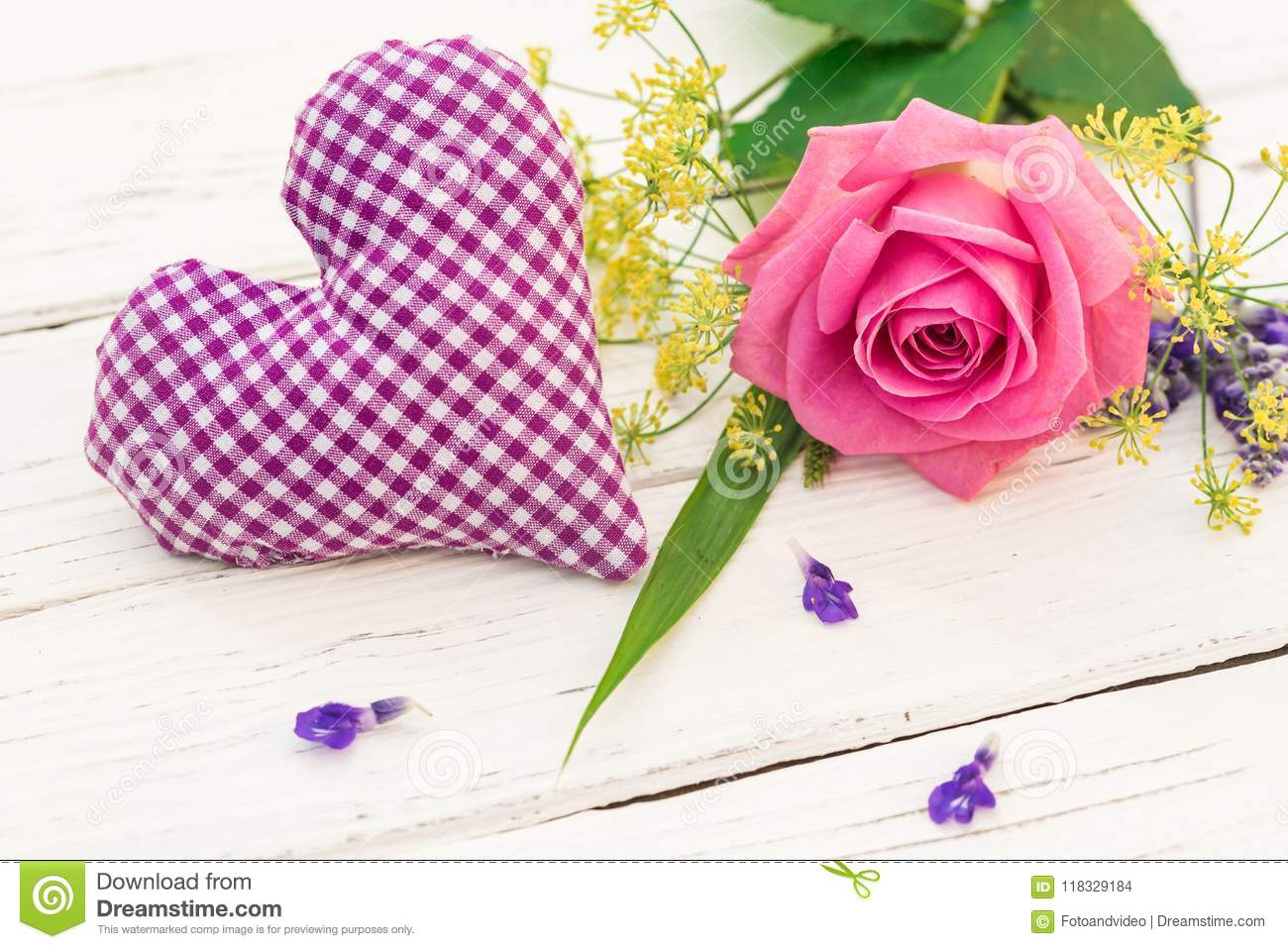Bunch Of Pink Rose Flower With Purple Heart Stock Photo Image Of