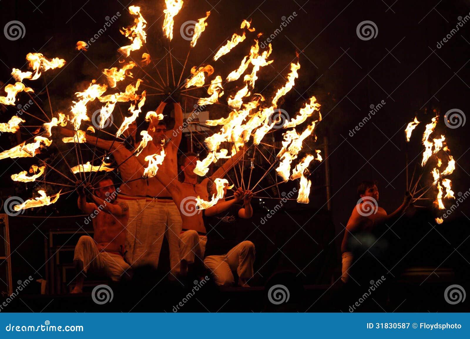 Beautiful burning torches setting
