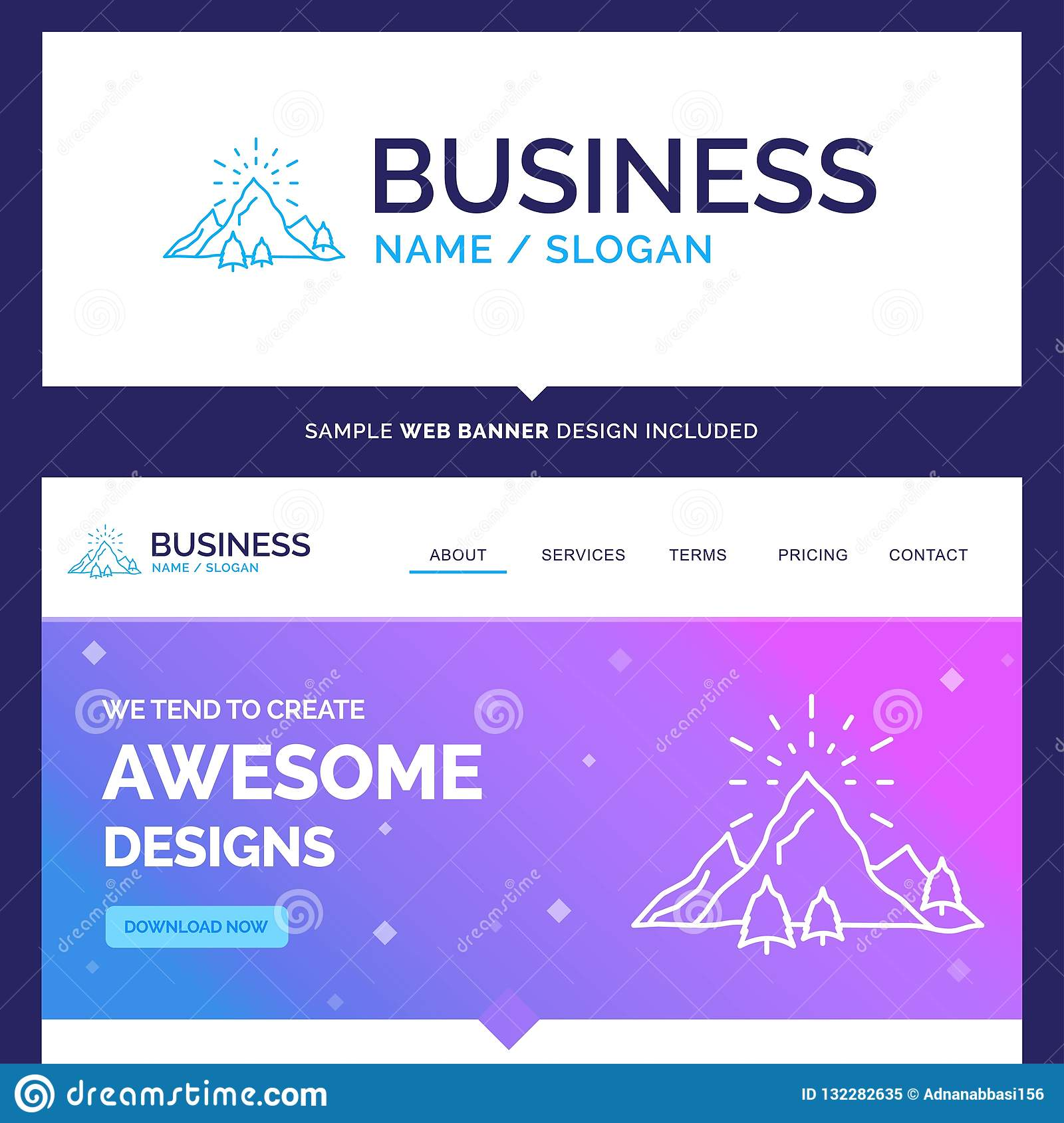 Beautiful Business Concept Brand Name hill, landscape, nature, m