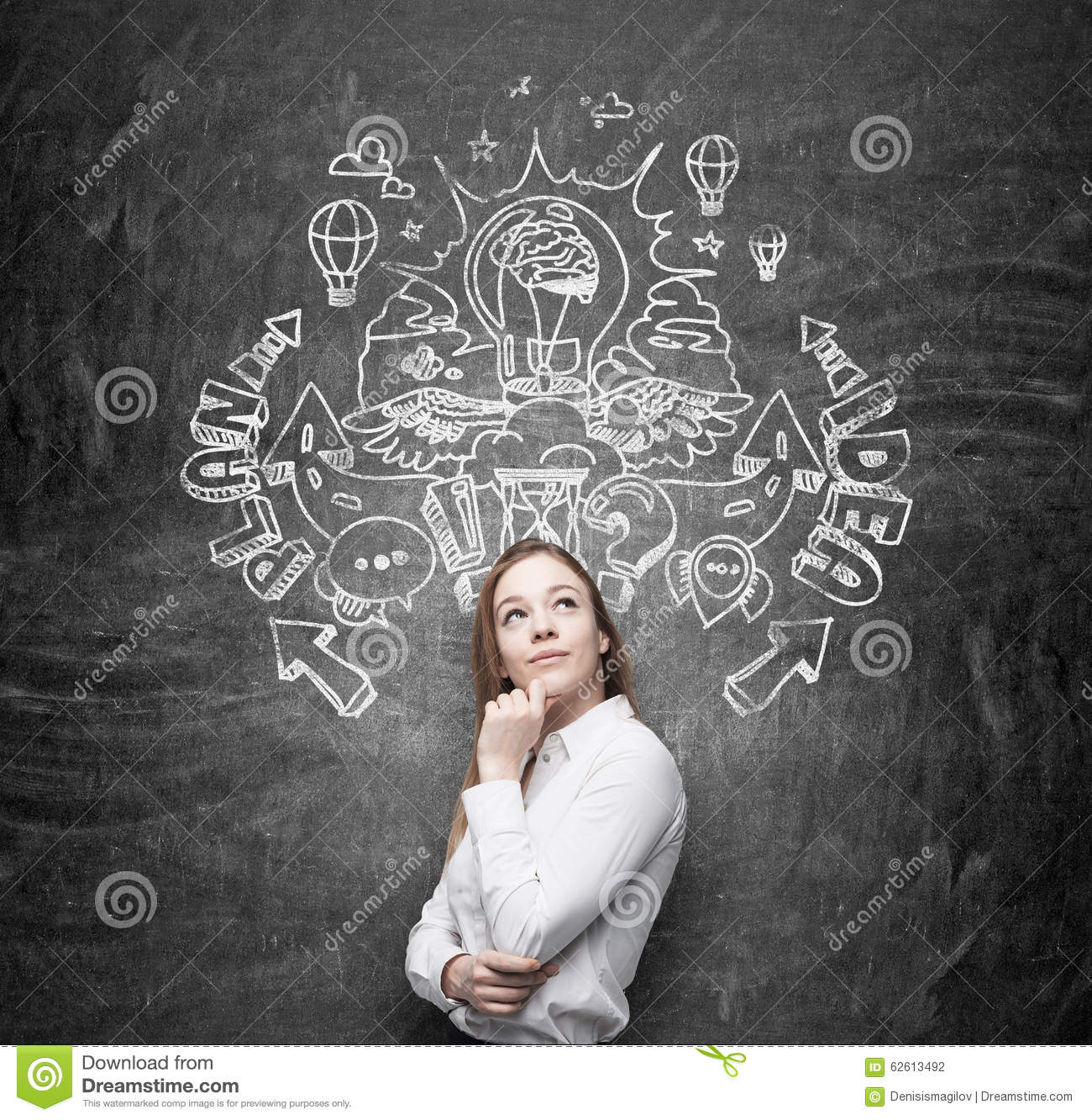 A beautiful business lady is dreaming about an invention of new business ideas for business development. Business plan and idea sk