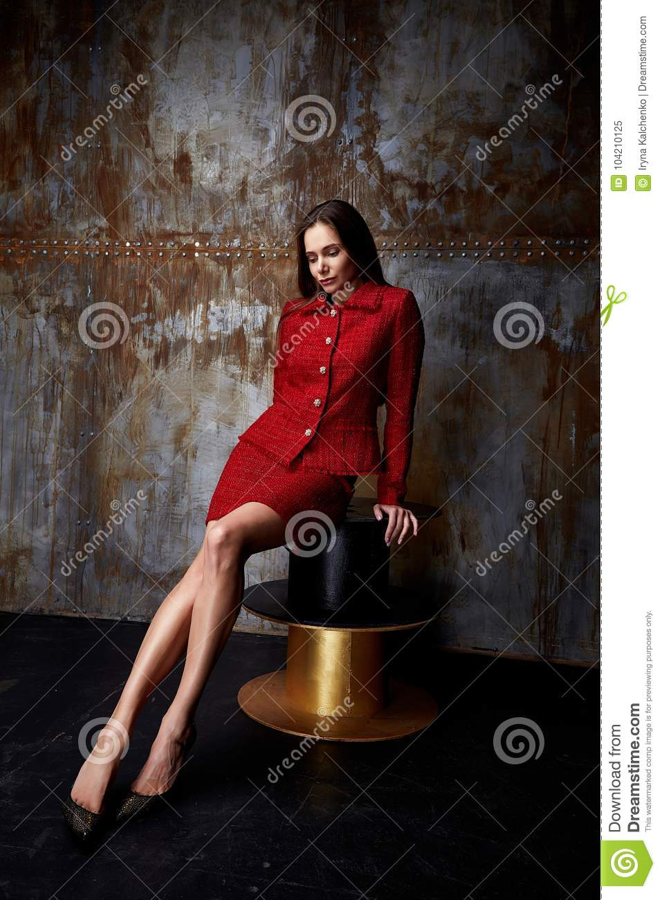 34fa86517 Beautiful business woman lady style perfect body shape brunette hair wear  red color dress suit jacket skirt elegance casual style glamour fashion  accessory ...