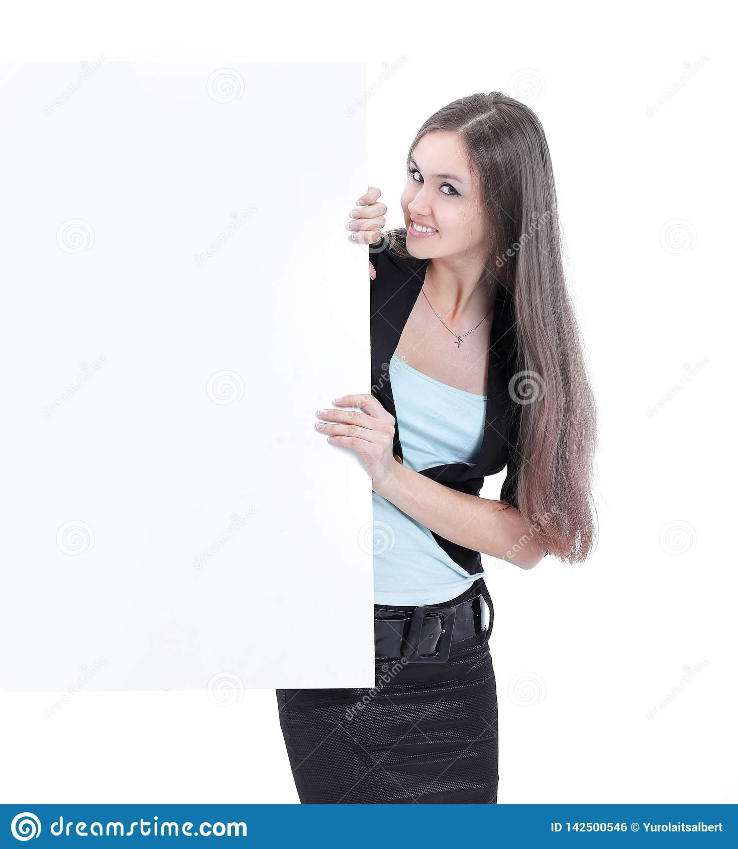 Beautiful business woman looking at blank poster.