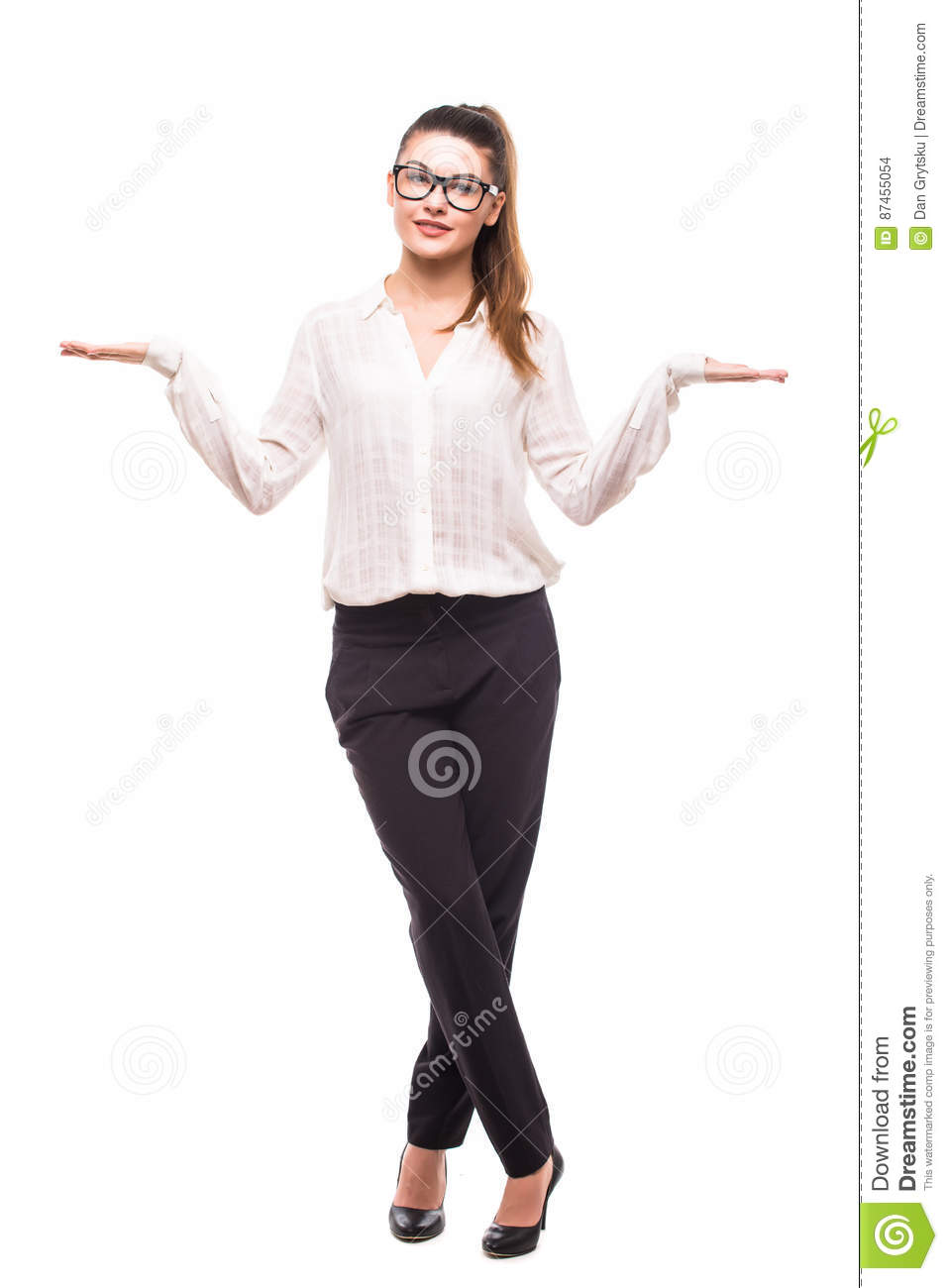 Beautiful business woman making a scale with her arms wide open.