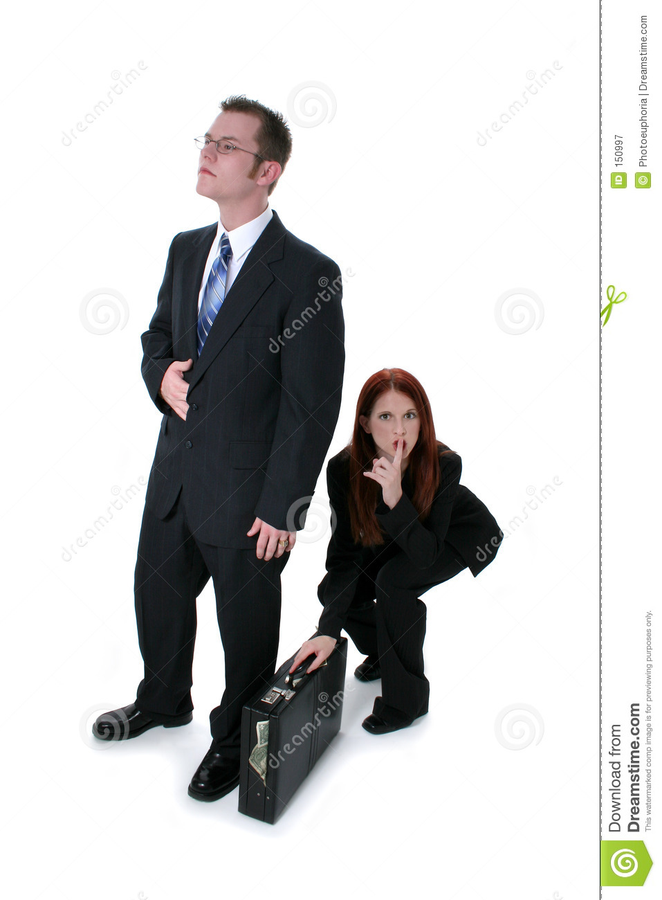 Beautiful Business Woman Stealing Briefcase Full Of Money