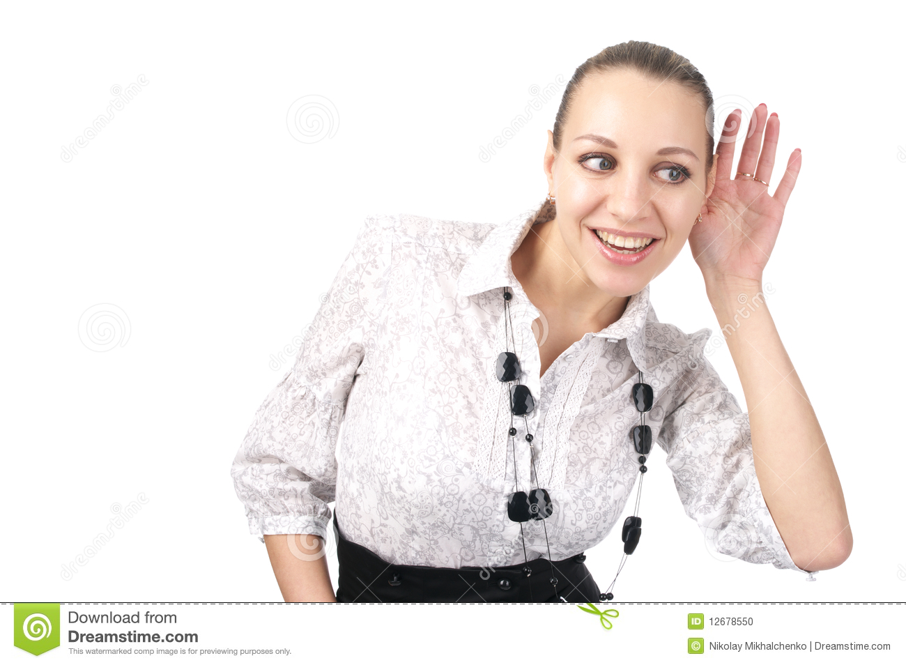 Beautiful Business Woman Trying To Hear Stock Photo ...