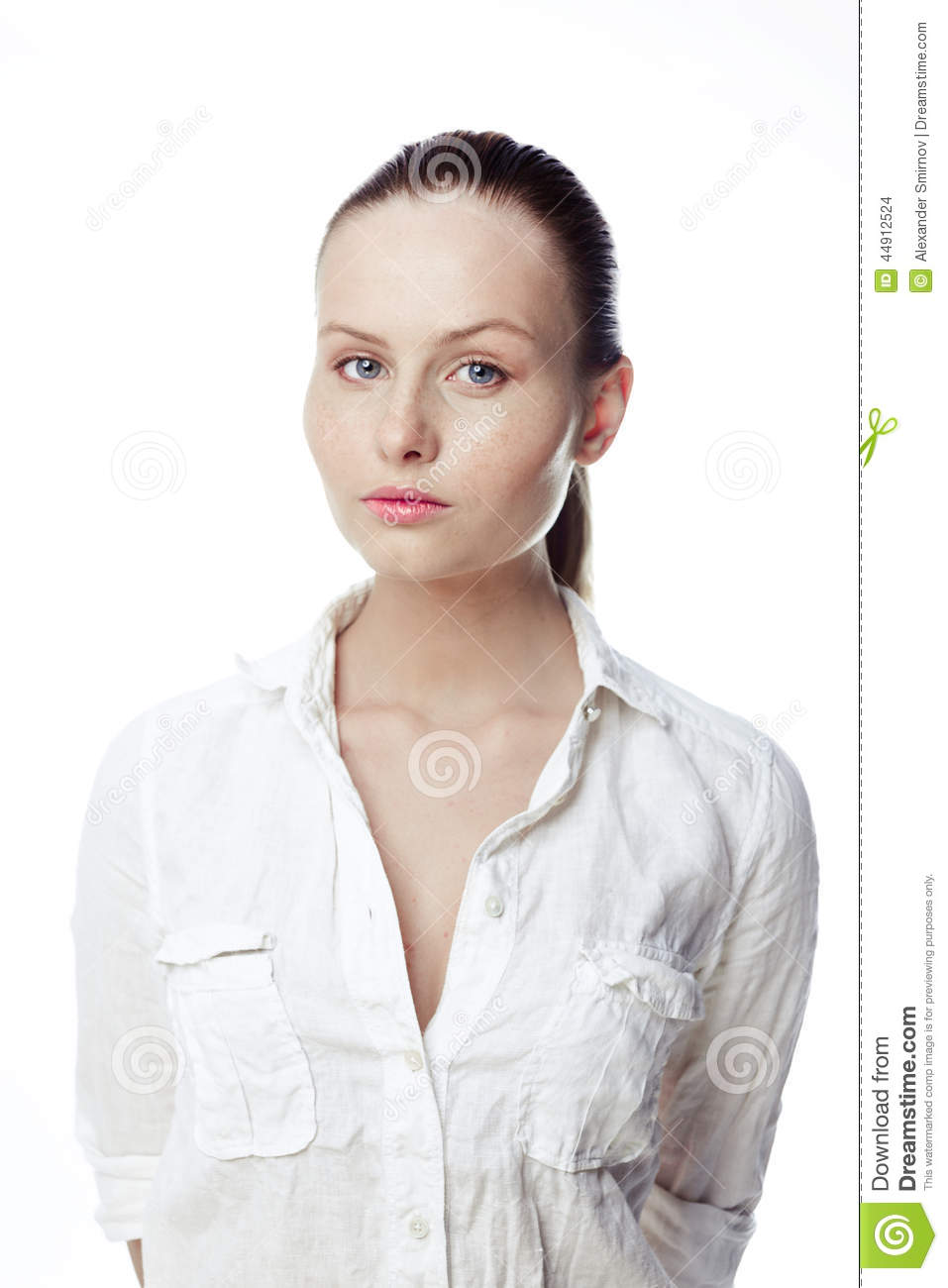 Beautiful Business Woman In A White Shirt, Hair In A Ponytail ...