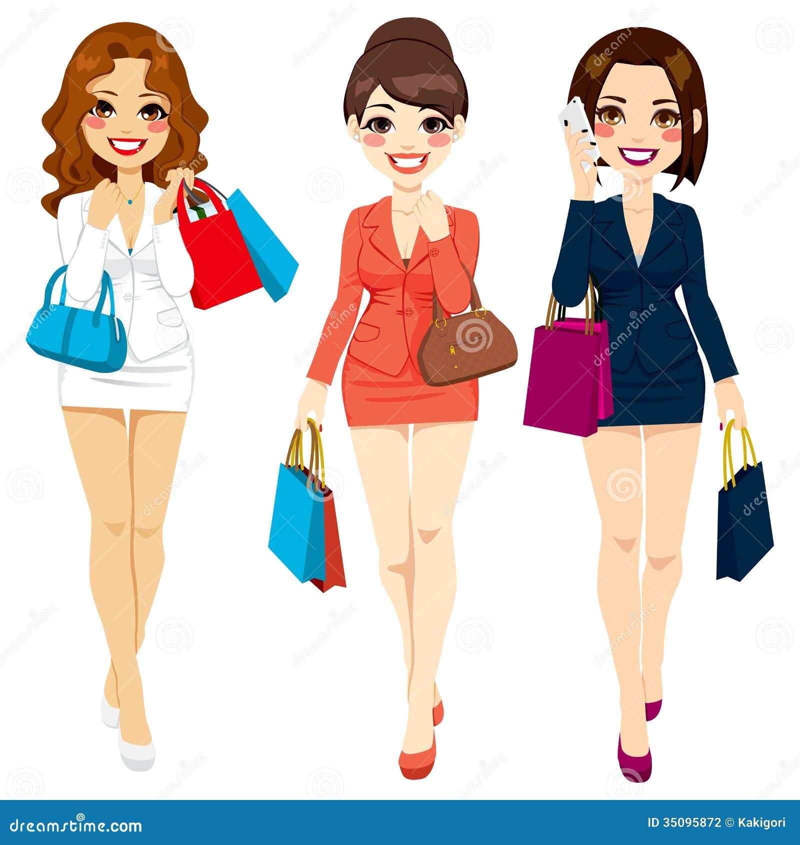 beautiful business women shopping stock photography