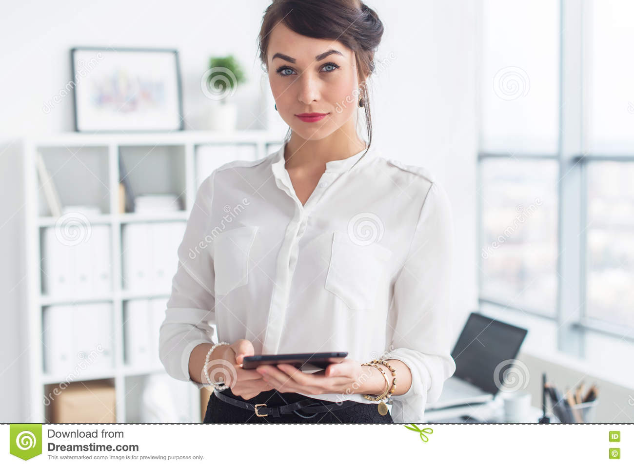 Beautiful businesswoman standing in office, holding notebook, planning meetings for the work day, looking at camera.