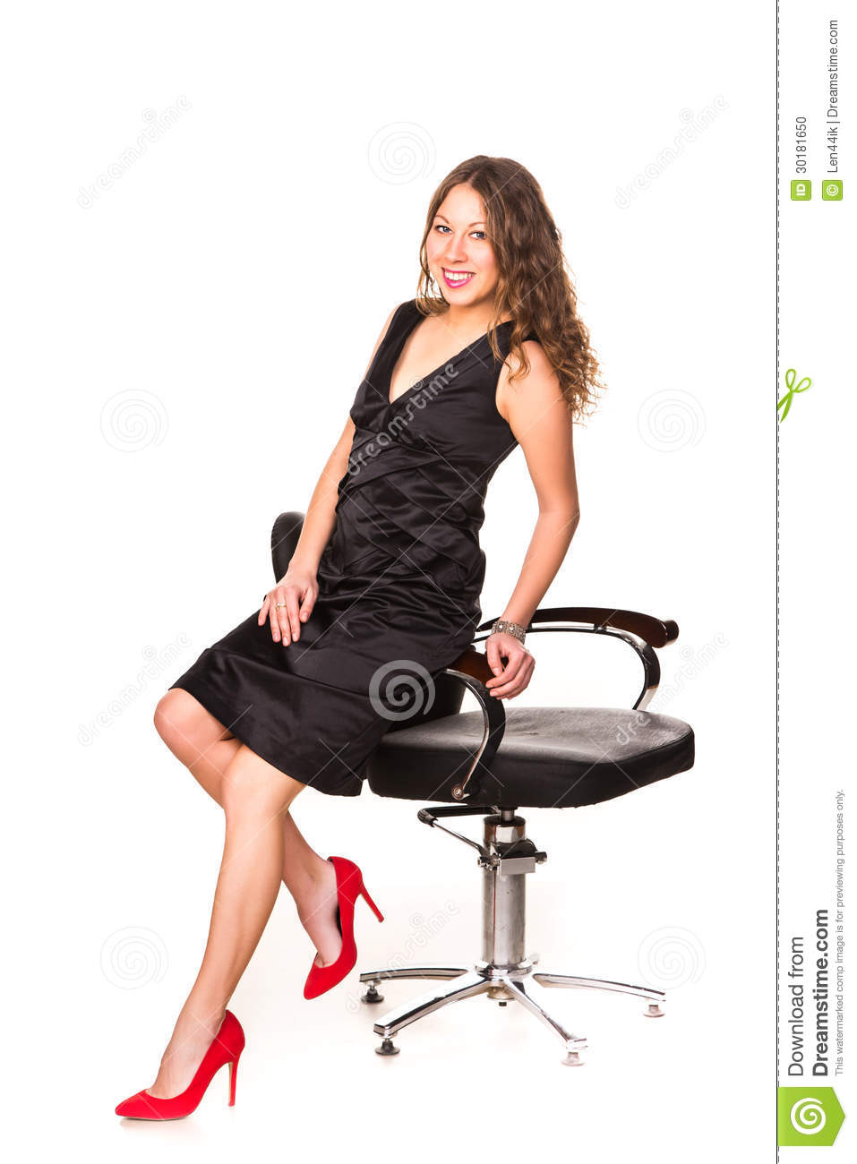 Beautiful Businesswoman Wearing Elegant Black Dress Stock Photo