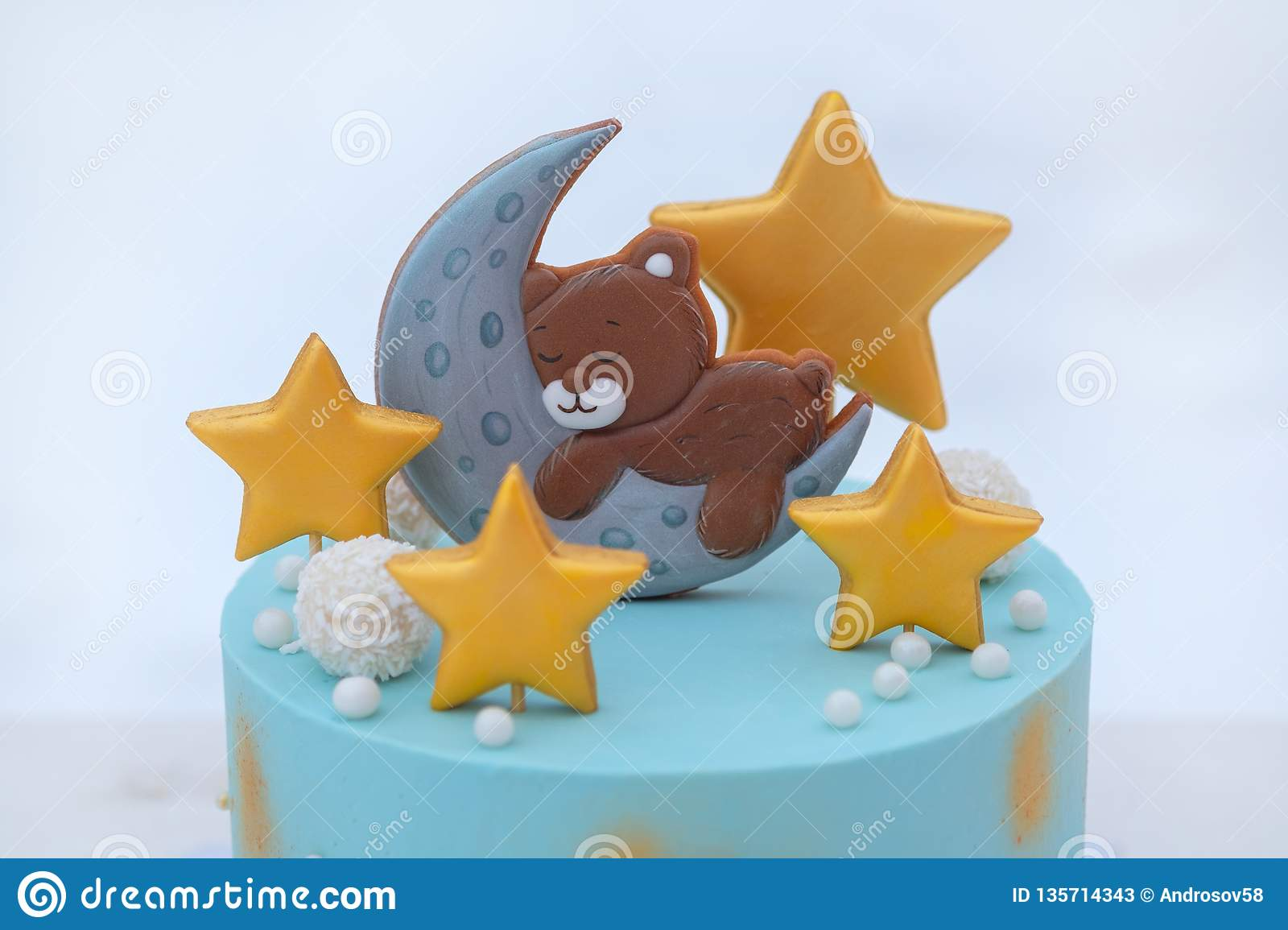 Excellent Beautiful Cake For The Baby S Birthday With A Bear Stars And The Personalised Birthday Cards Cominlily Jamesorg
