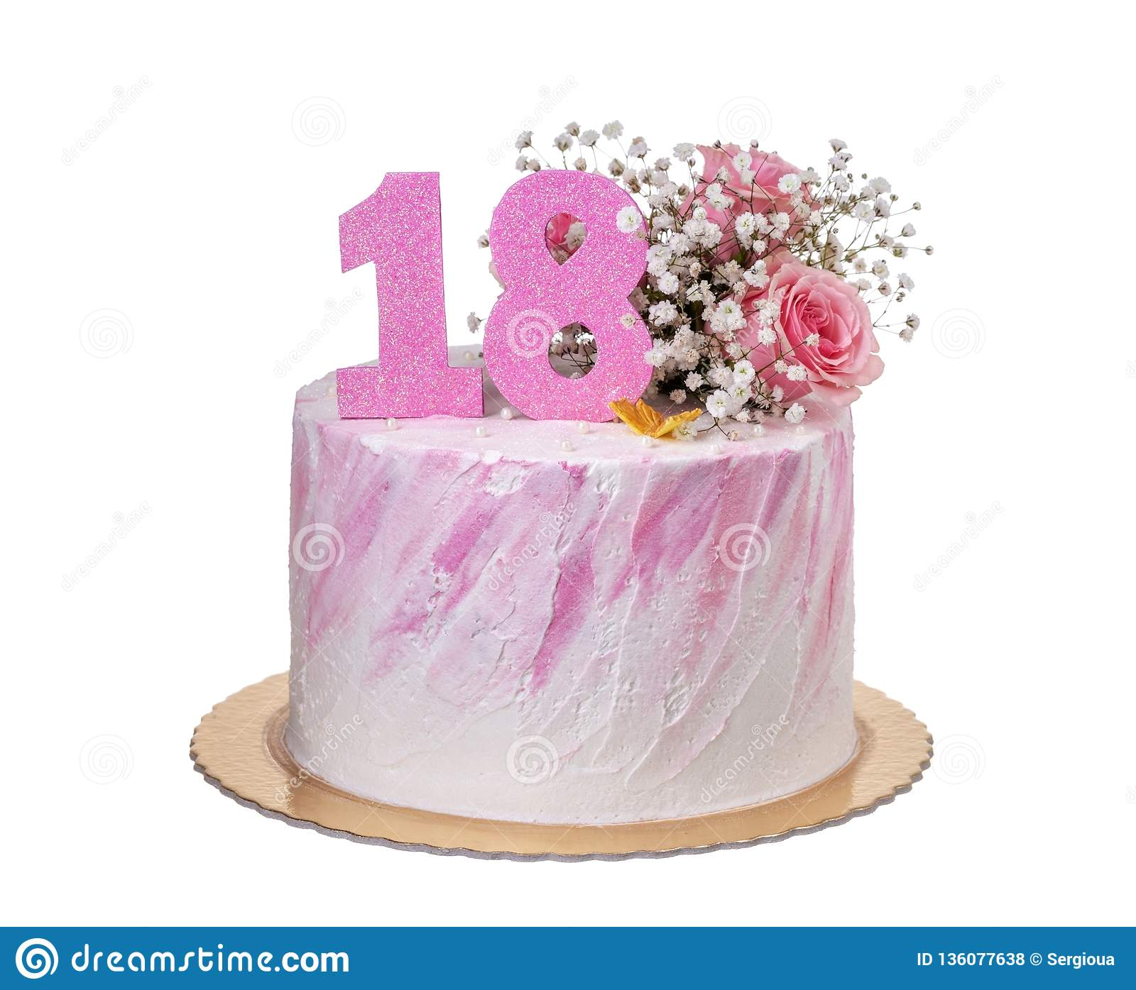 Beautiful Cake On The Birthday Of The Girl For 18 Years. Stock Photo ...