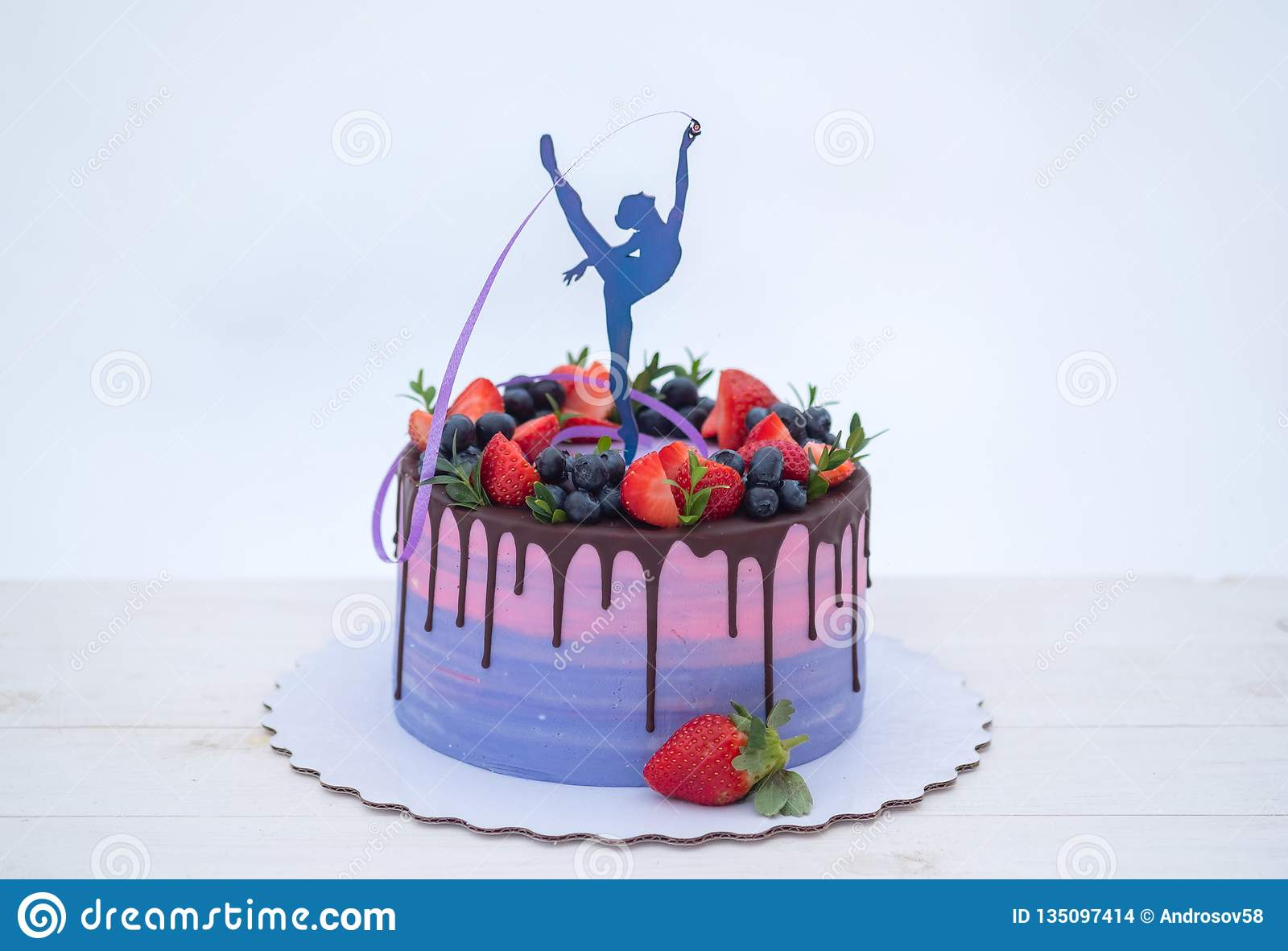 Enjoyable Beautiful Cake With The Figure Of A Gymnast With A Ribbon Stock Personalised Birthday Cards Bromeletsinfo