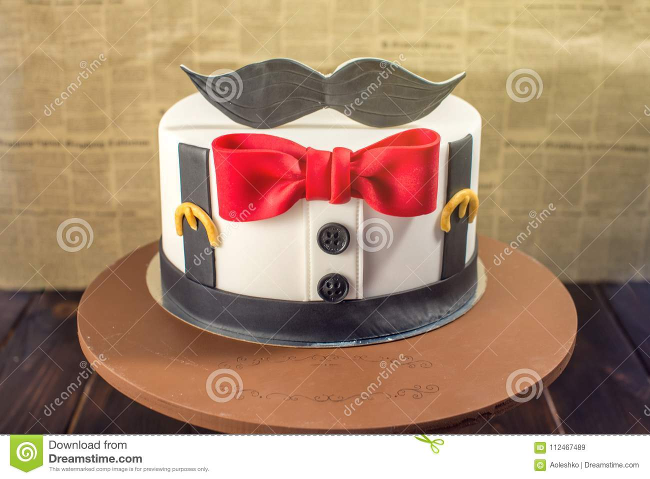 Beautiful Cake For Men Decorated In The Form Of A Suit With Bow Tie Concept Desserts Birthday Boy