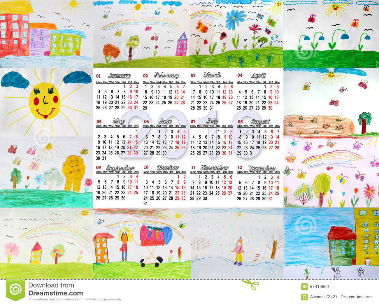 Calendar Drawing For Kids : Beautiful calendar for with children s drawings stock
