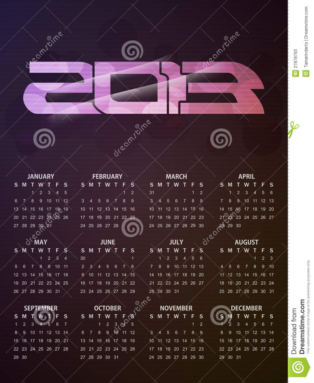 Beautiful Calendar Design : Beautiful calendar design for stock photos image