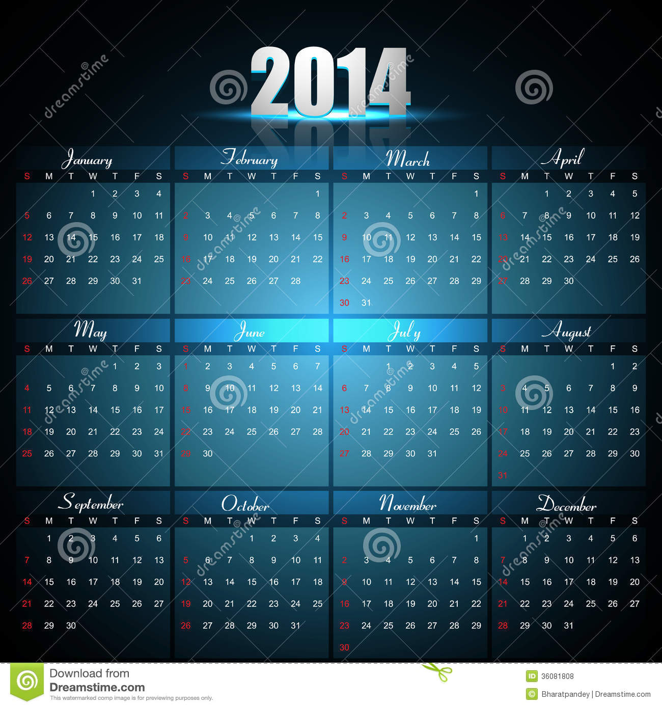 Beautiful Calendar For 2014 Template Stock Vector Image