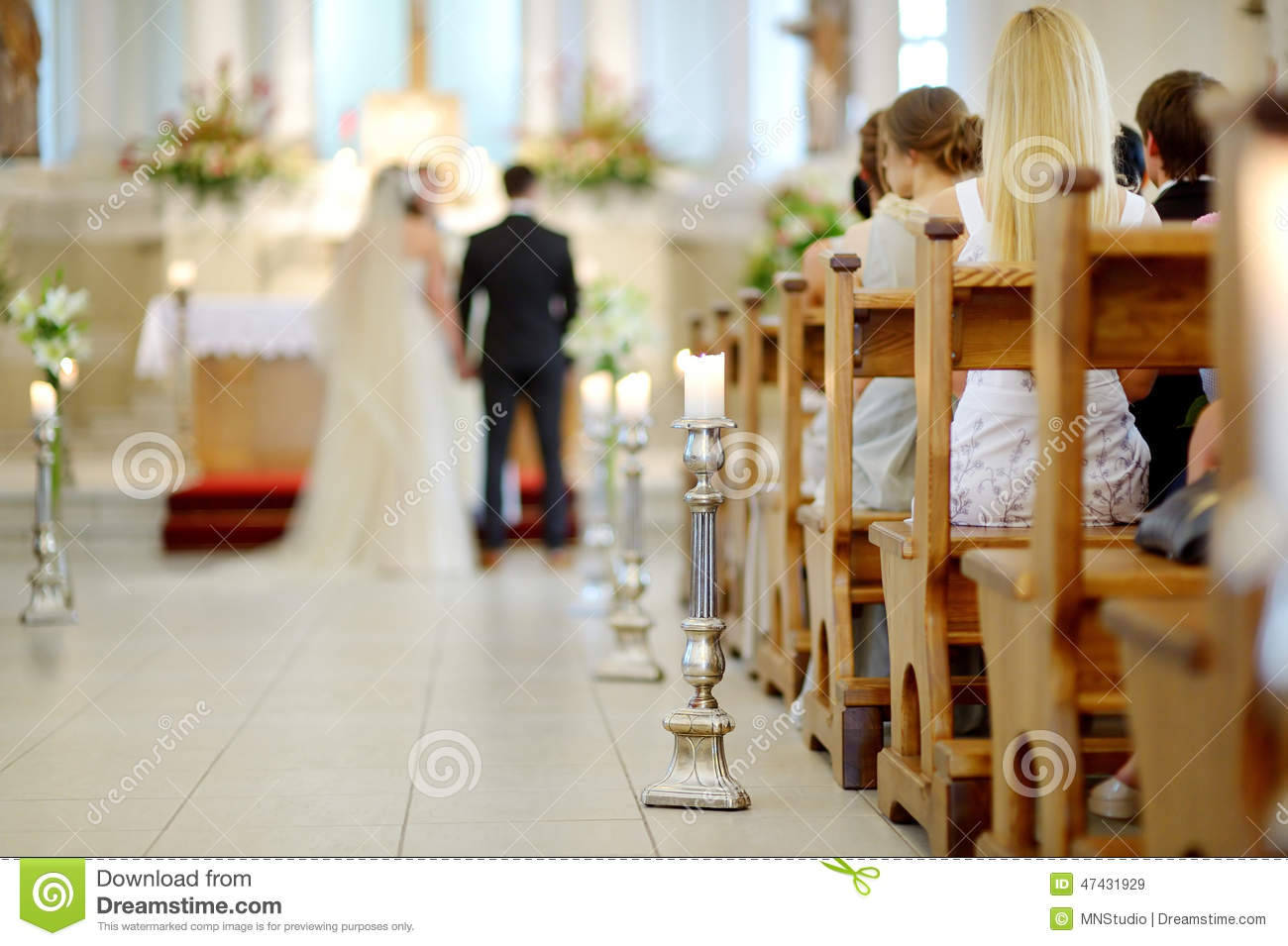 Wedding decoration church stock photos royalty free pictures beautiful candle wedding decoration in a church during wedding ceremony royalty free stock images junglespirit