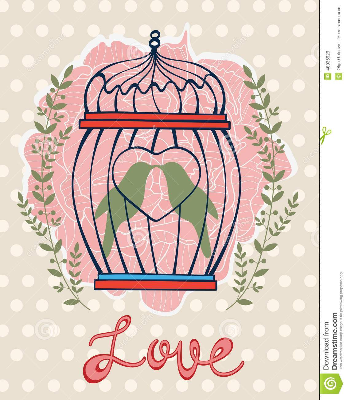 Beautiful Card With Birds In Cage Stock Vector