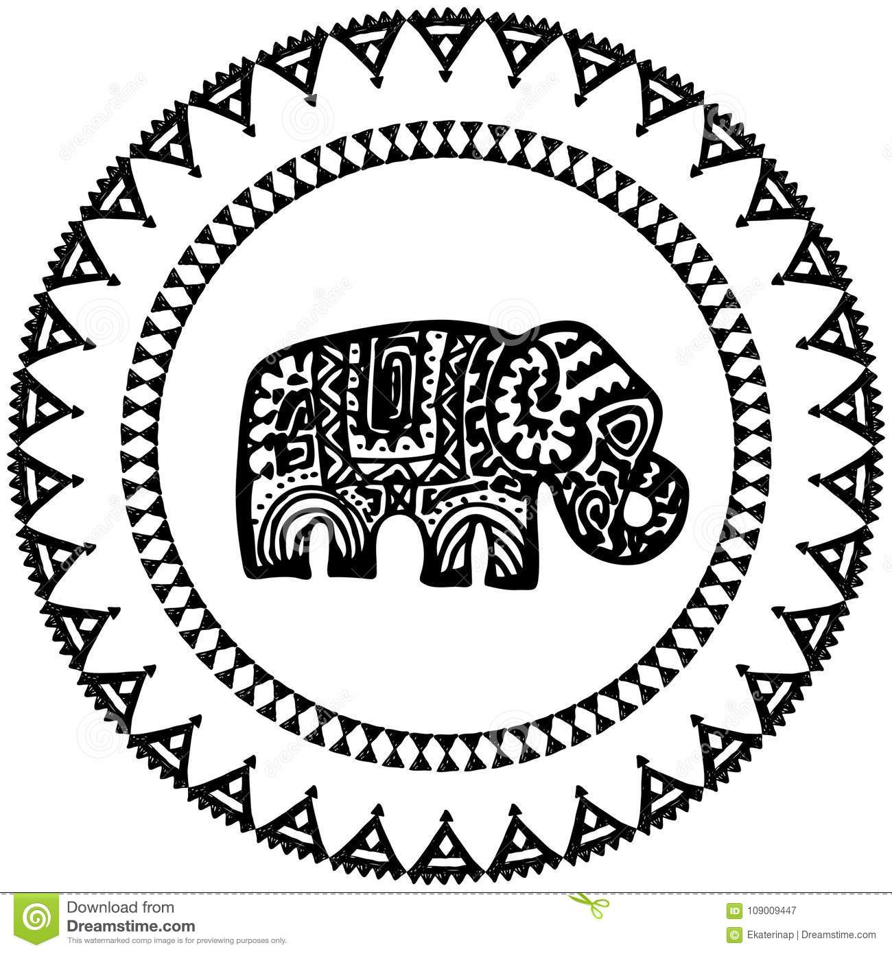 Beautiful Card With Elephant Indian With Ornaments. Round Frame For ...