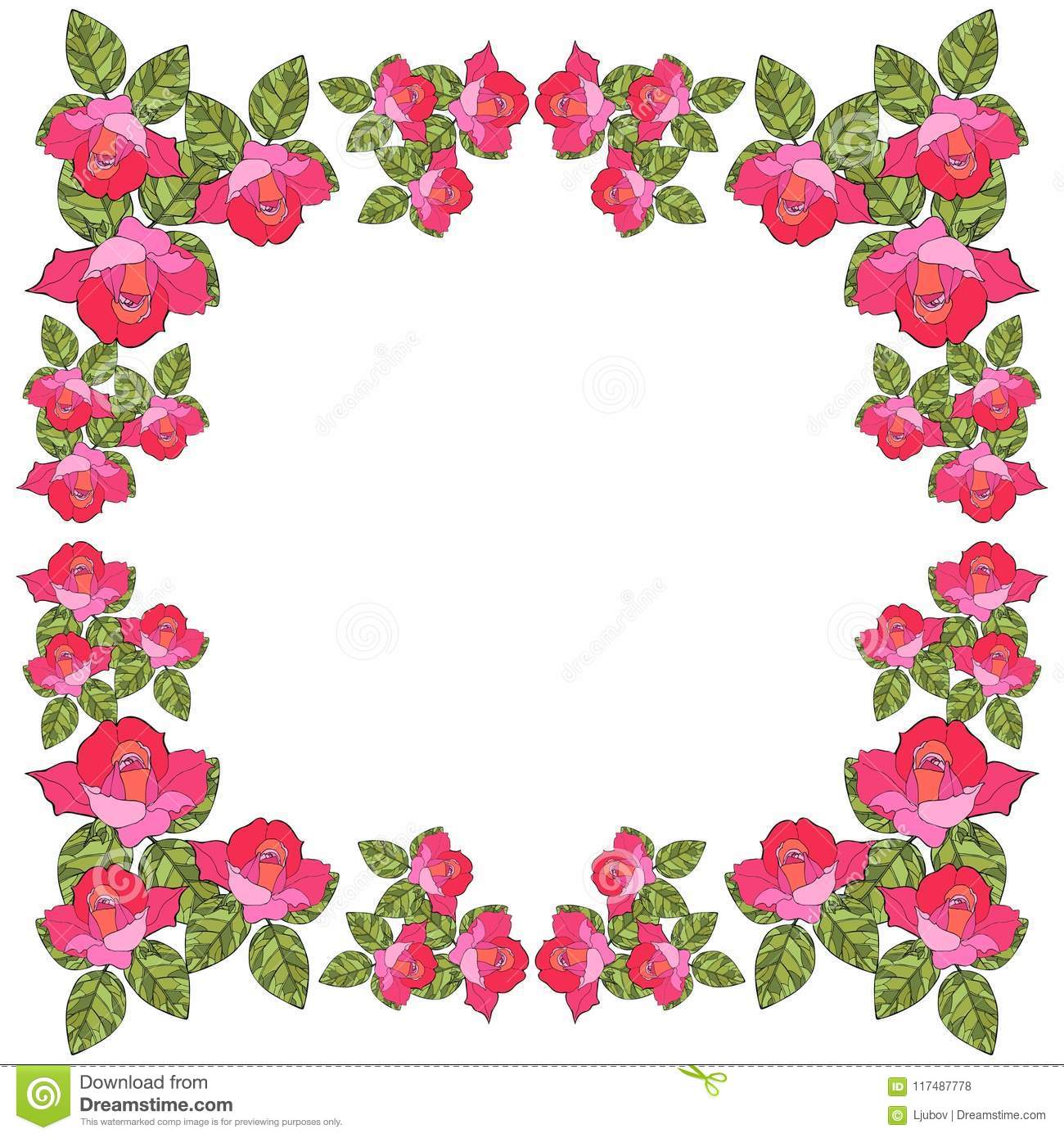 Beautiful Card With Floral Frame  Save The Date  Vector