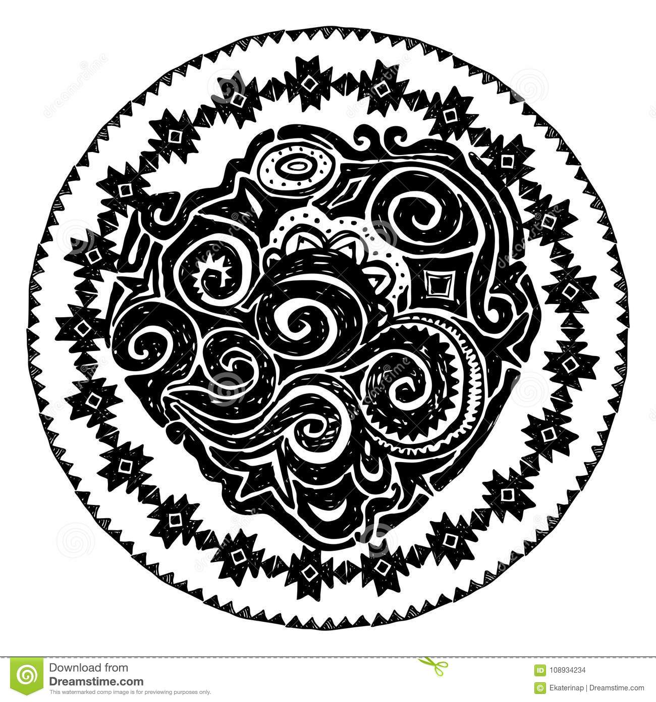 Beautiful card with native zigzag ornaments. Round frame mandala. Hand drawn banner template with ethnic aztec border. Black conto