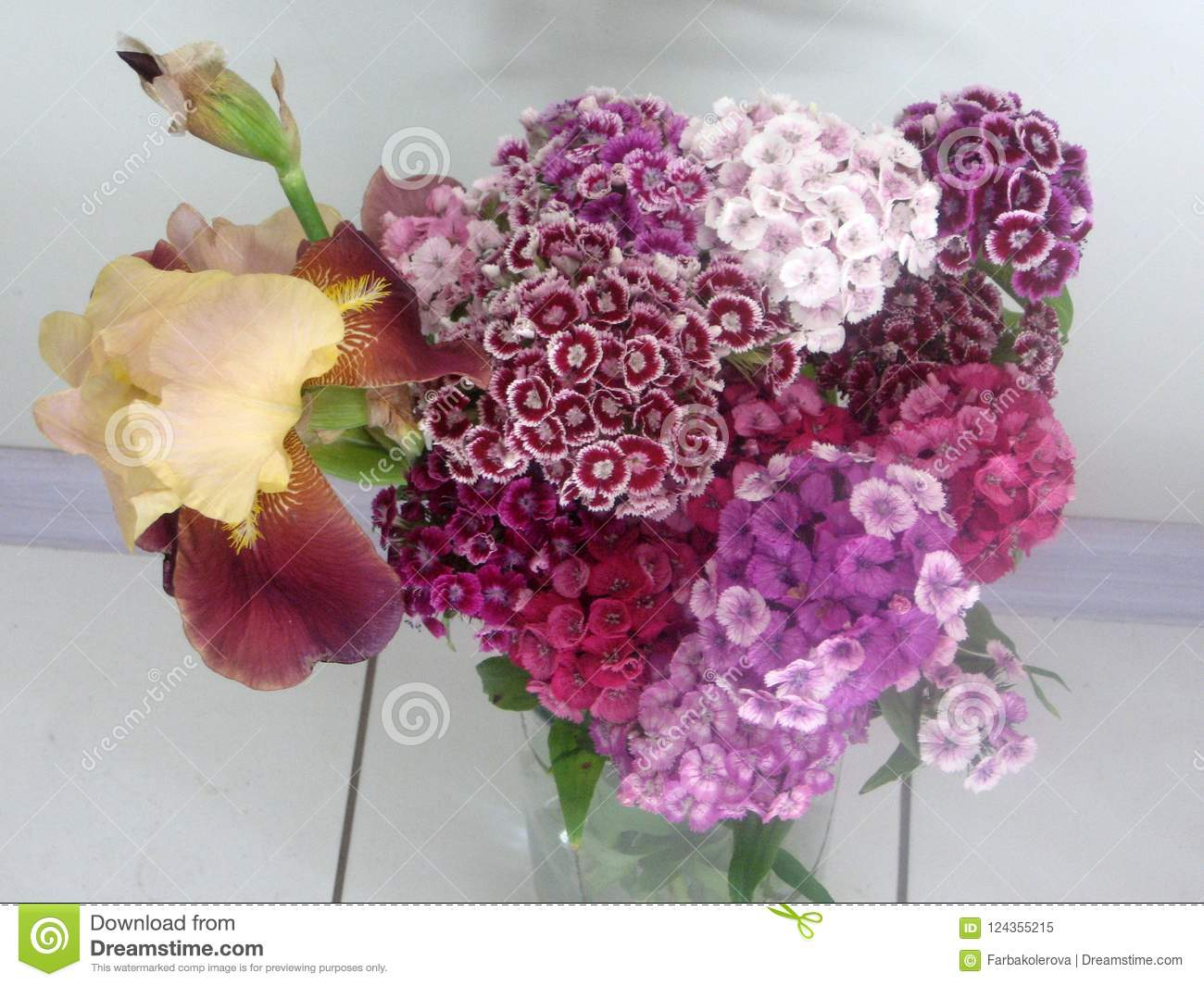 Beautiful Carnation Flowers In A Vase On A Table Bouquet Of Violet
