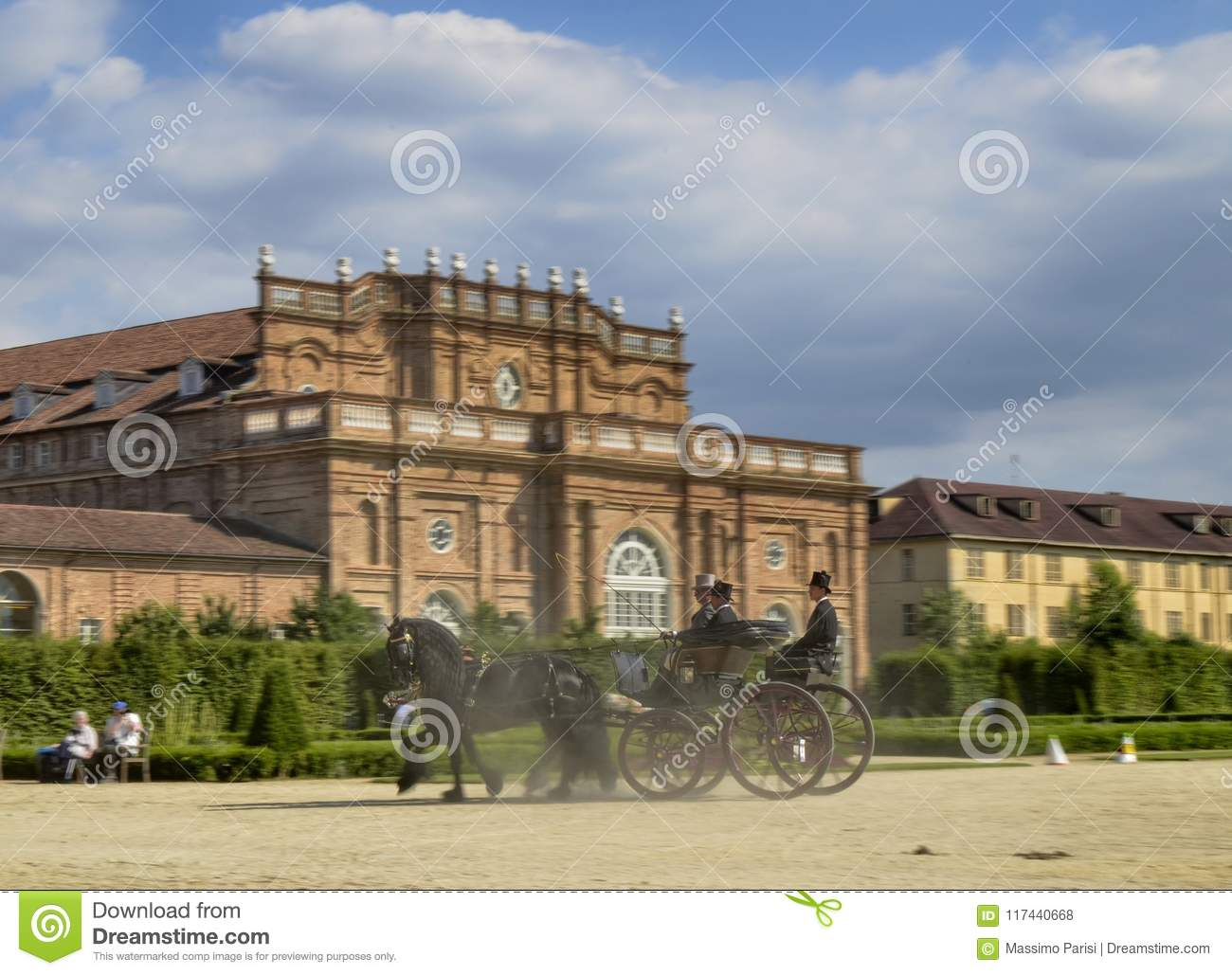 A Beautiful Carriage Crosses The Gardens. Editorial Stock Photo ...