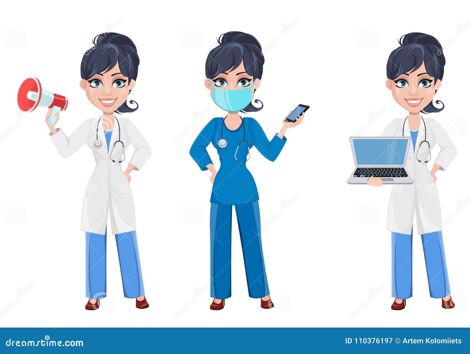 Beautiful Cartoon Character Medic Set Stock Vector Illustration