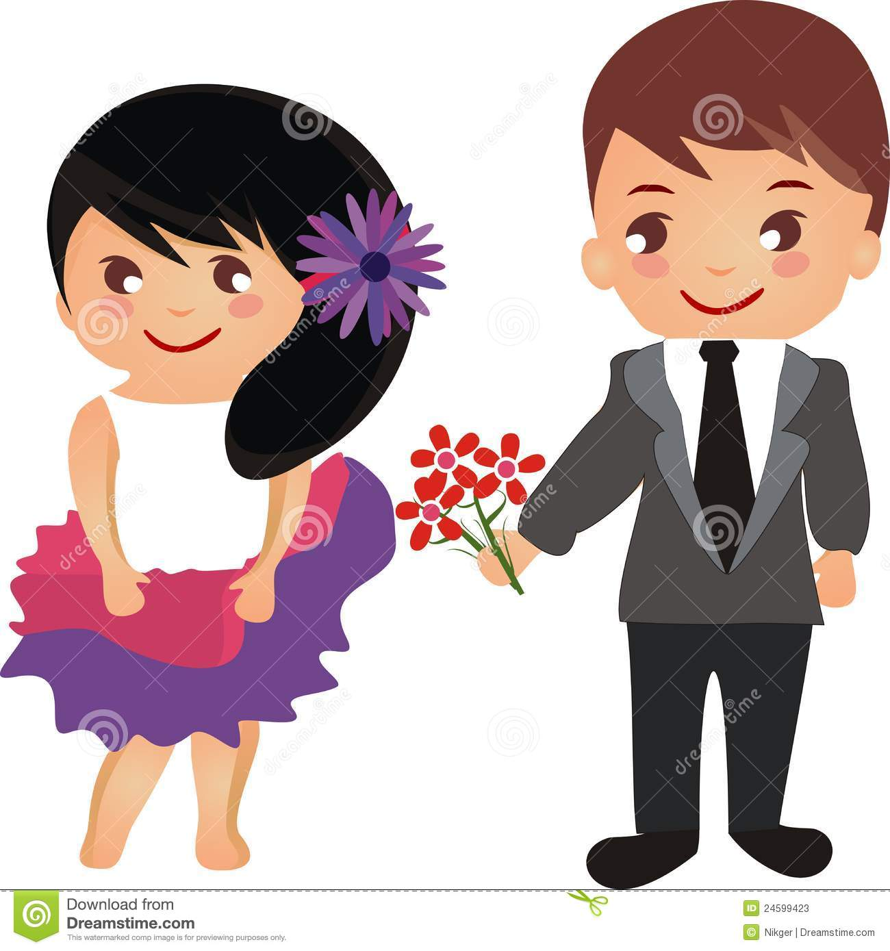 Beautiful Cartoon Couple With Flowers Stock Vector Illustration Of Concept Beauty 24599423