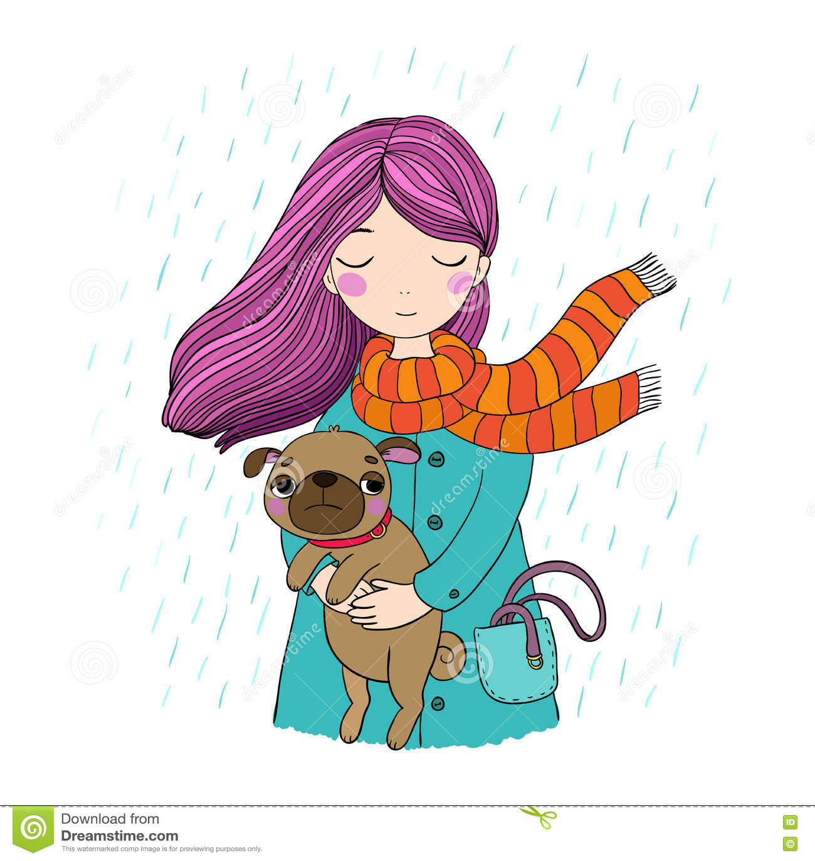 Beautiful cartoon girl and pug.