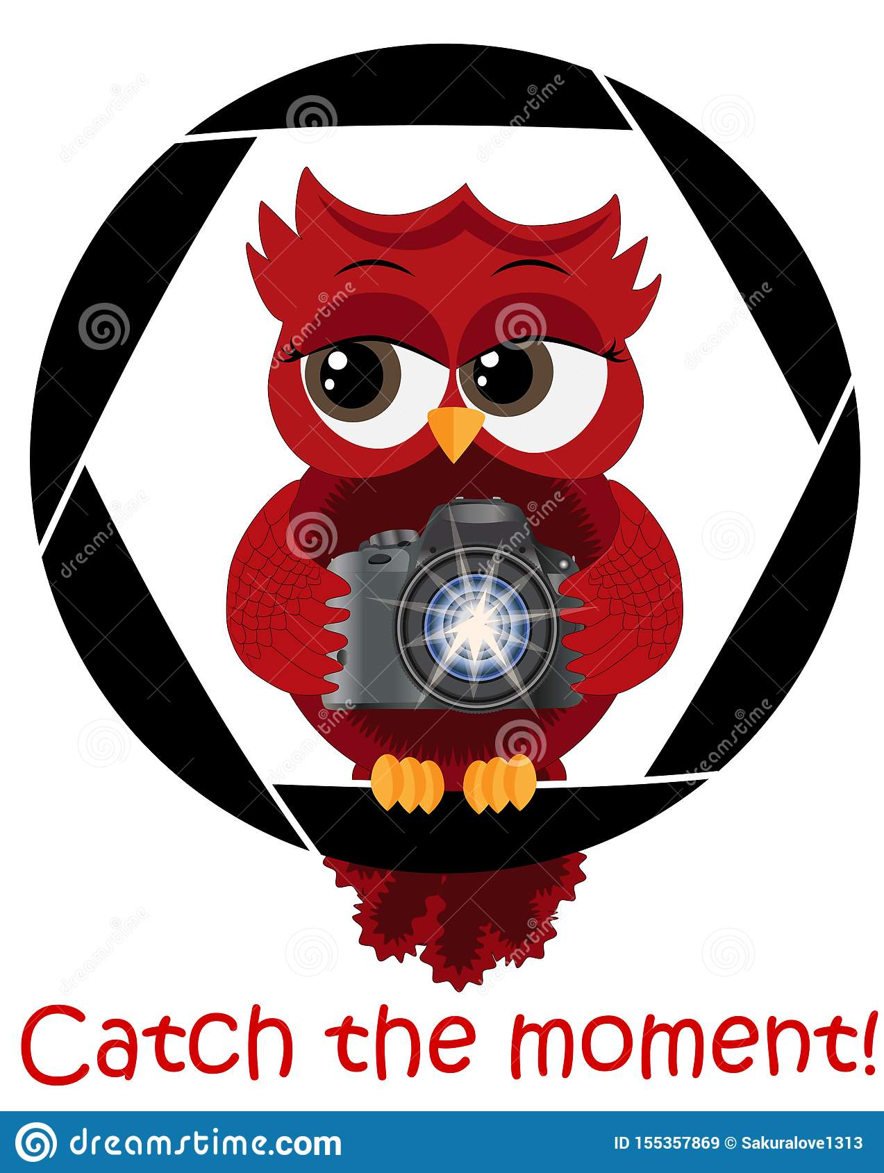 A beautiful cartoon red owl with a camera sits on the camera s diaphragm. Concept photography, vocations, photo business