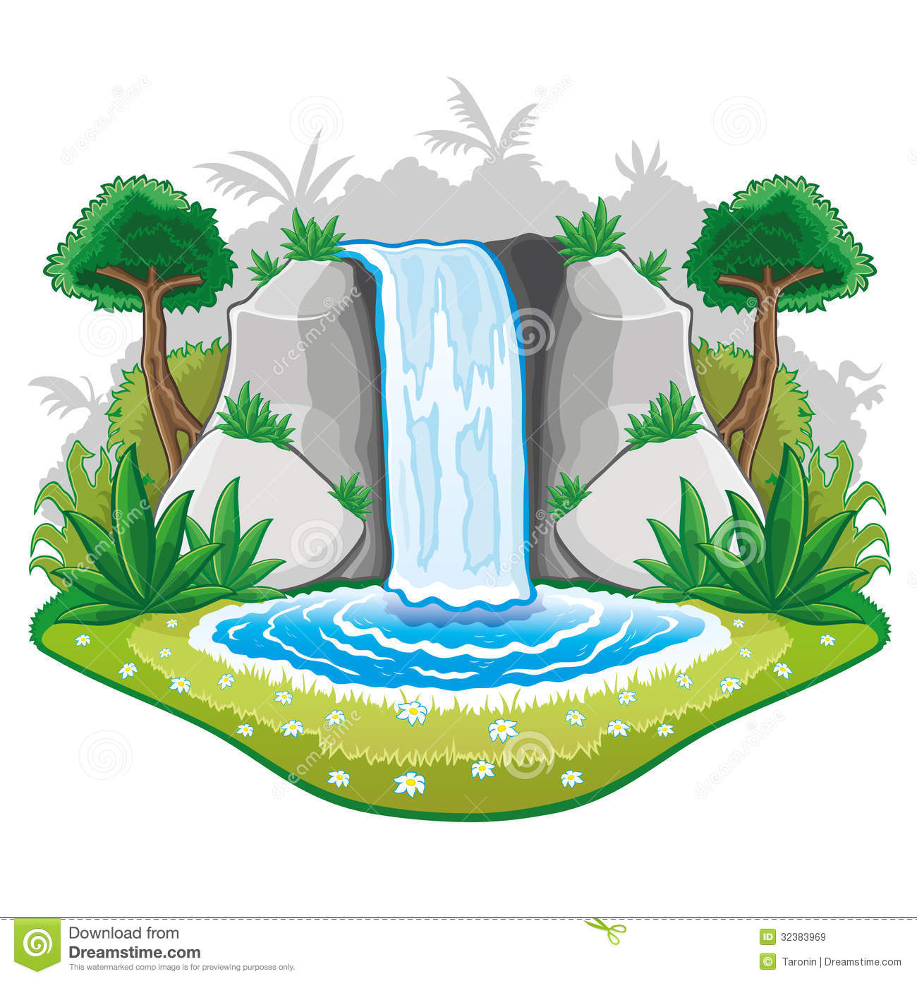 Beautiful Cartoon Waterwall. Royalty Free Stock Images - Image ...