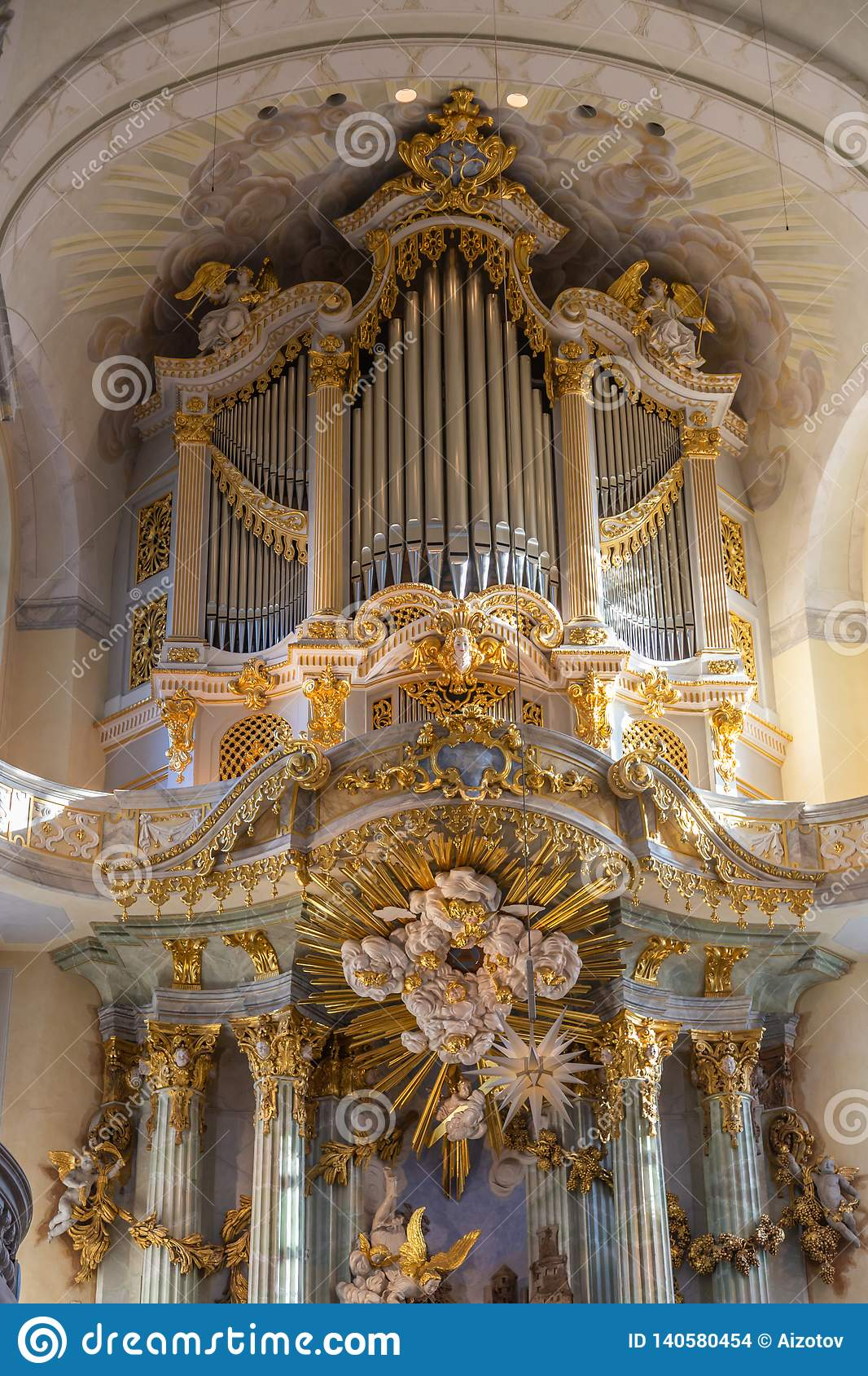 Beautiful carved gilded organ in the Frauenkirche church in Dresden, Germany