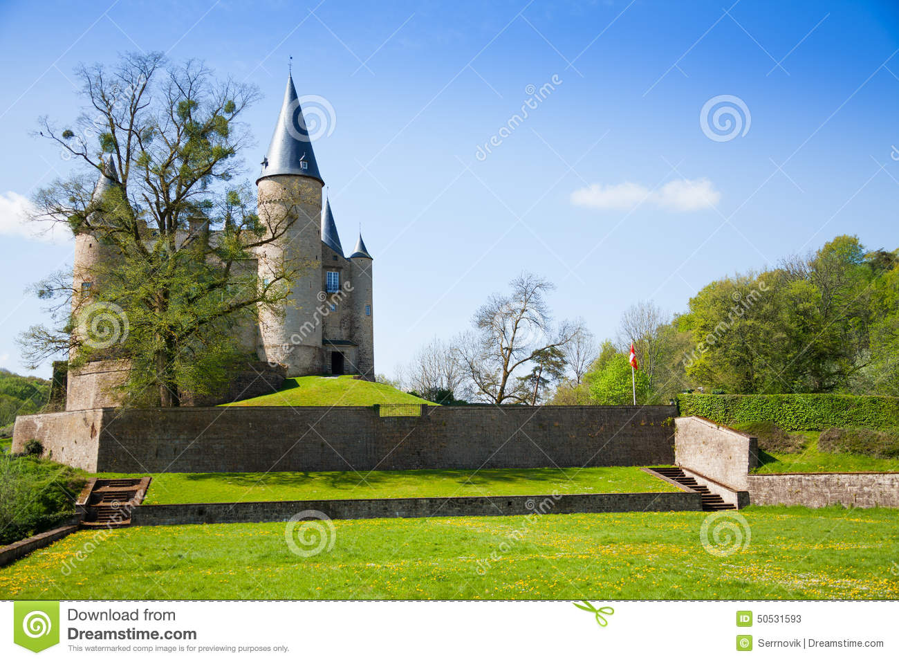 Beautiful Castle of Veves view during sunny day