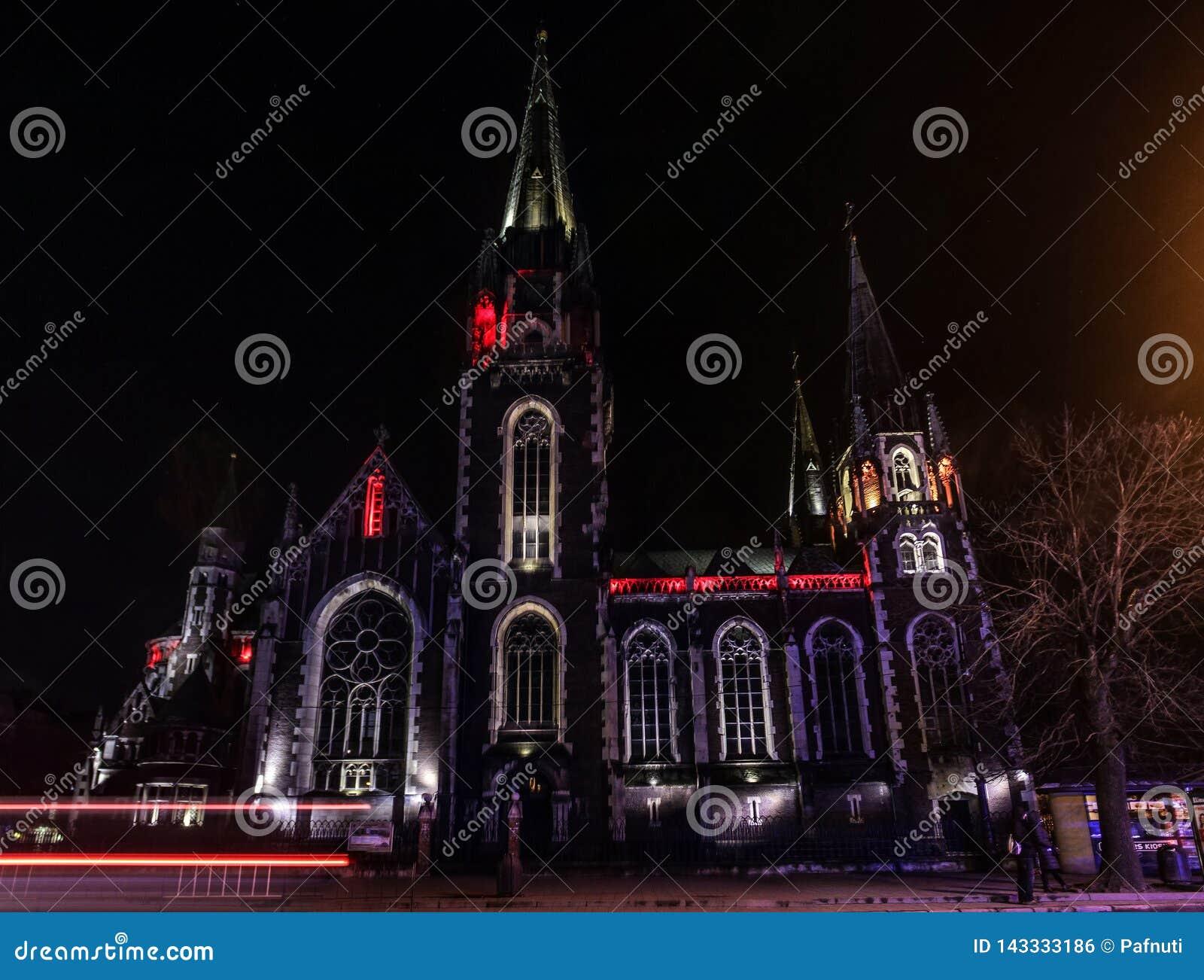 Beautiful Catholic cathedral on background.
