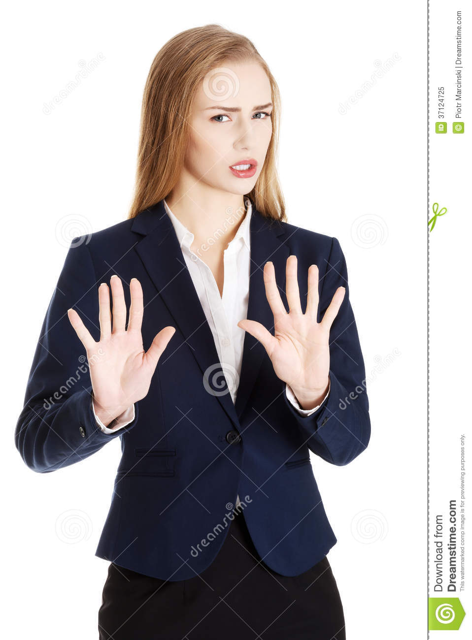 Beautiful caucasian business woman is showing refusing, rejecting gesture.