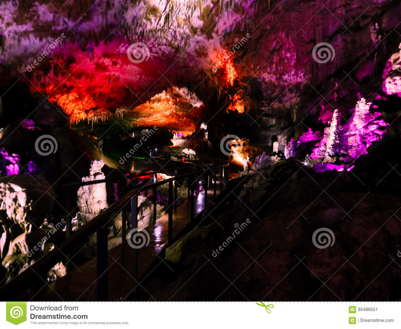 Beautiful cave with colored illumination