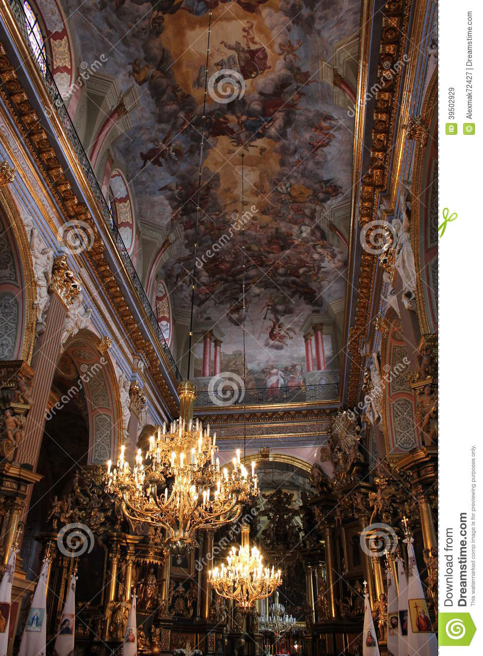 Beautiful ceiling in church of Lvov