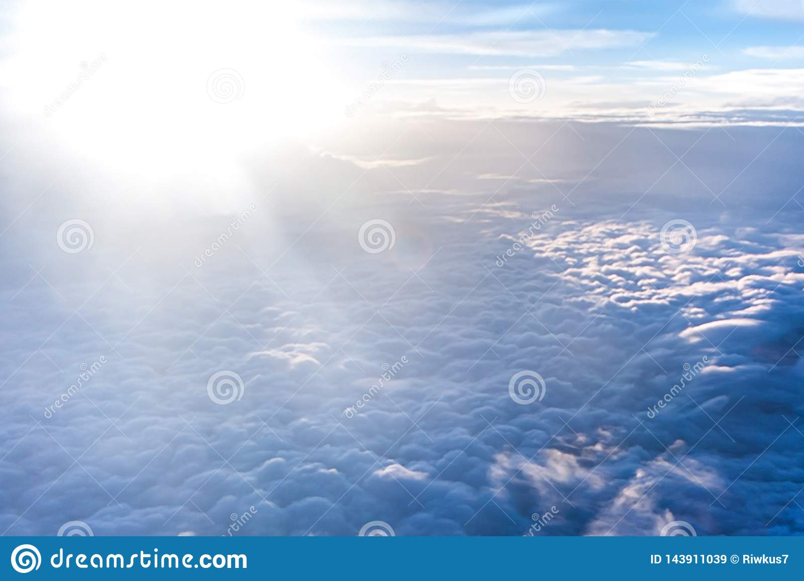 Beautiful celestial landscape with thick light clouds