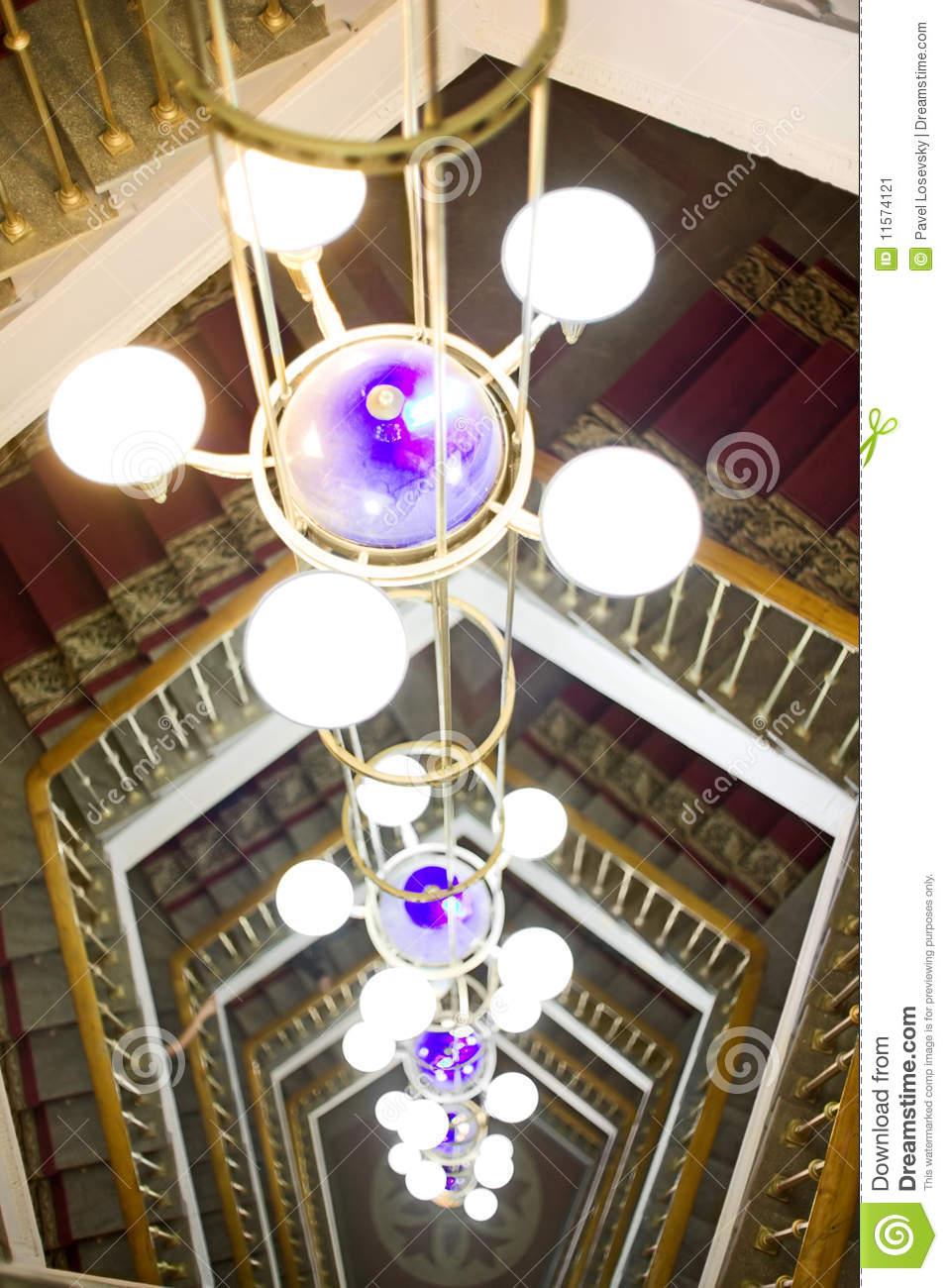 Beautiful Chandelier Against A Ladder Stock Image Image