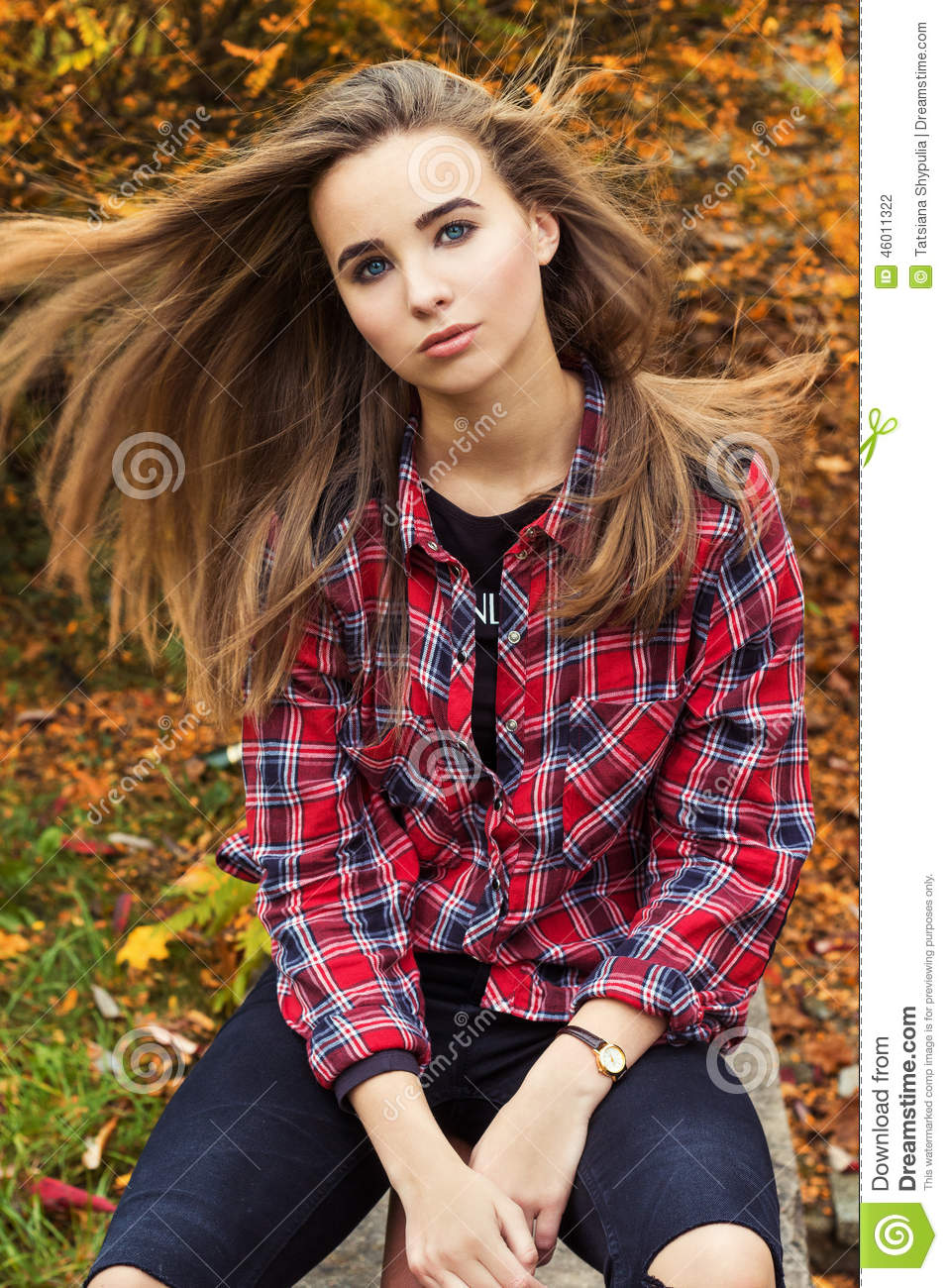 Beautiful charming young attractive girl with large blue eyes with long dark hair in the autumn - Charming teenage girls image ...