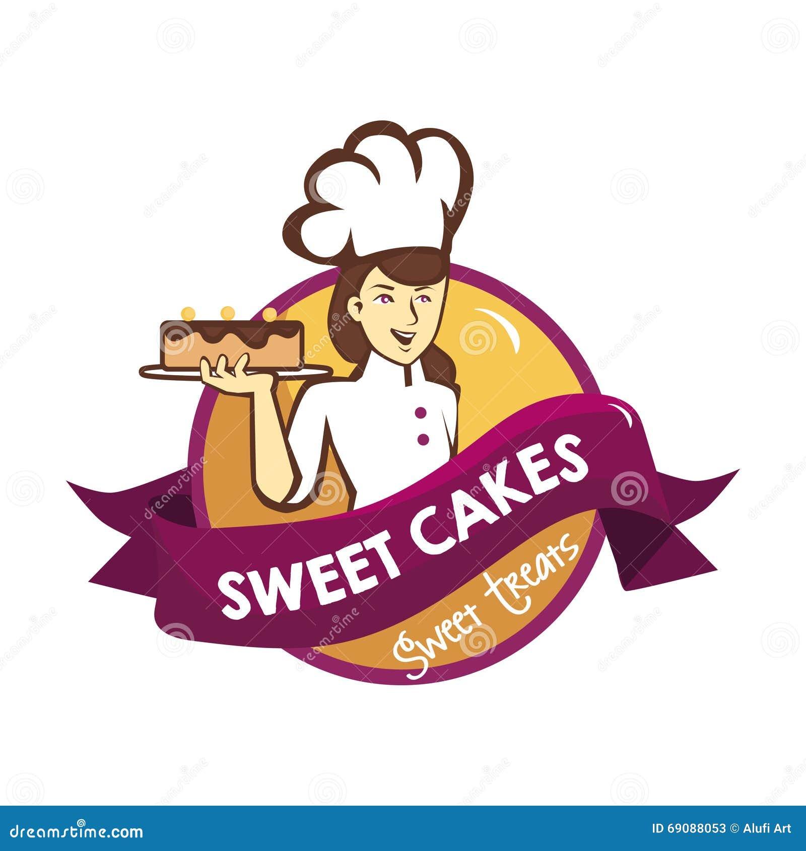 Beautiful Chef Lifts Sweet Cake Logo Stock Photo - Image ...