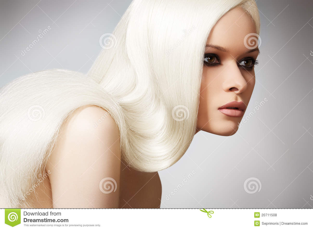 Beautiful chic model with long blond straight hair