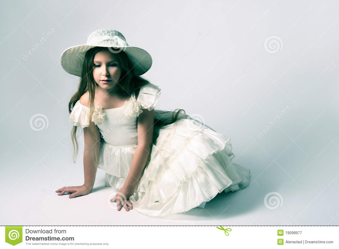 Beautiful Child Girl In White Dress Royalty Free Stock