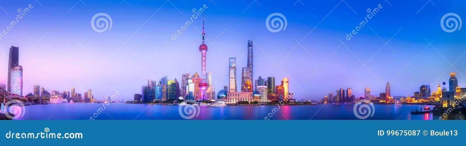 Download Shanghai skyline cityscape stock image. Image of futuristic - 99675087