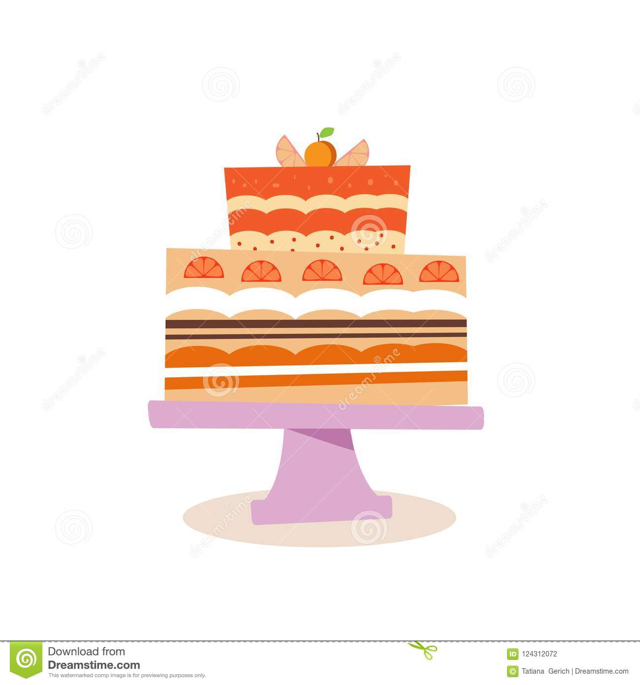 Fruit Cake2 Stock Vector Illustration Of Coocie Delicious 124312072