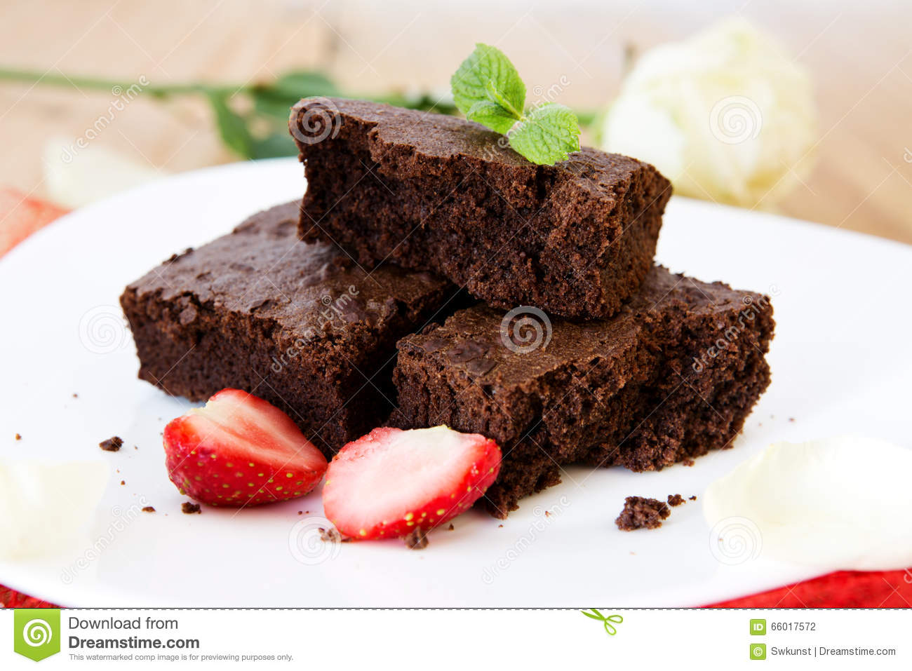 Beautiful Chocolate Cake With Fresh Strawberries. Stock ...