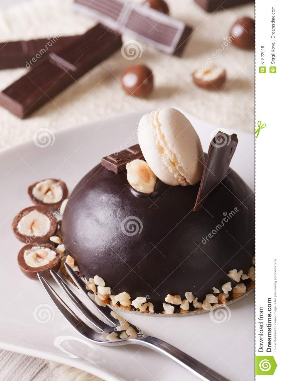 Beautiful Chocolate Cake With Nuts And Macaroon Vertical Stock